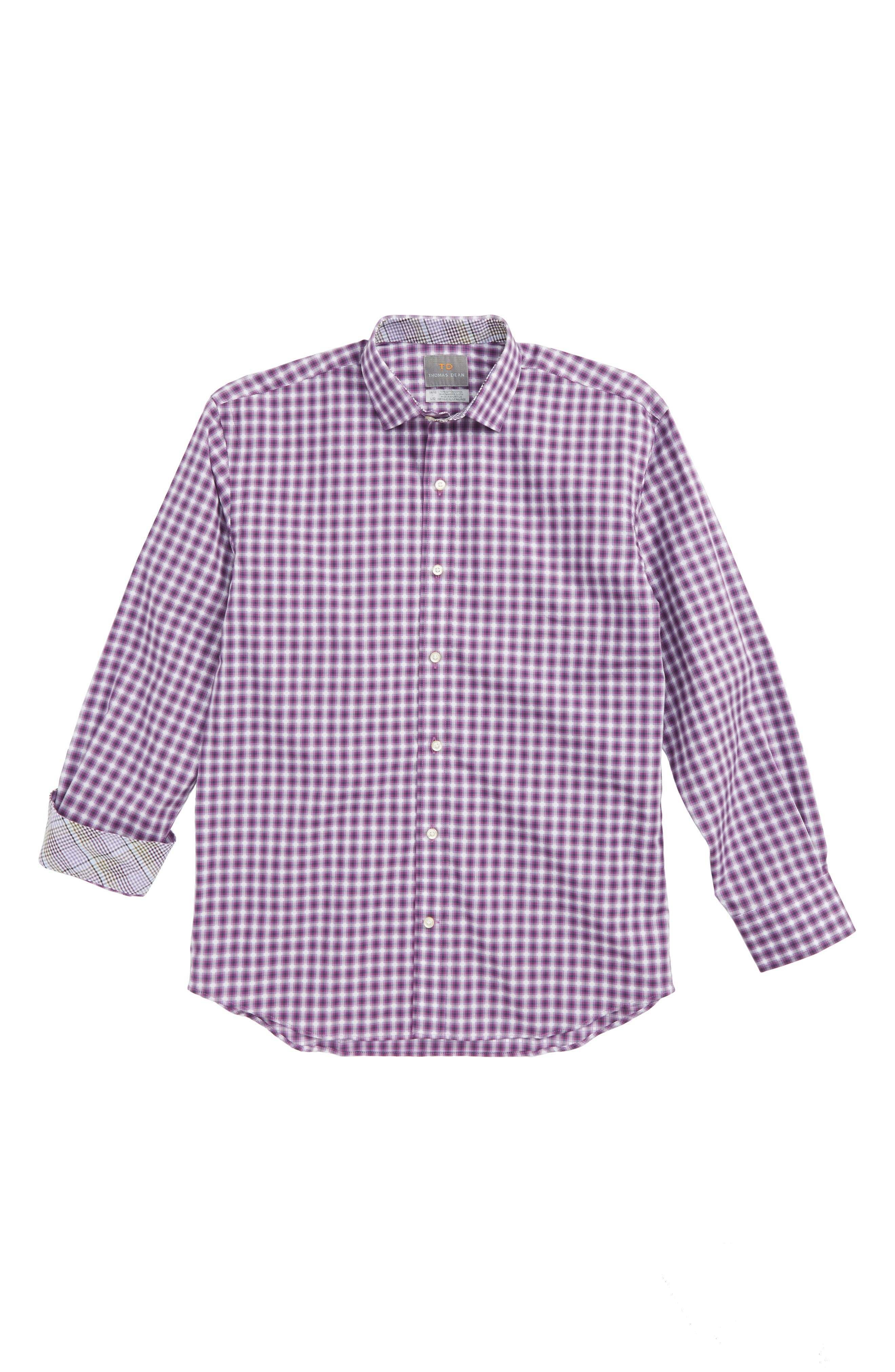Geo Check Dress Shirt,                         Main,                         color, Purple