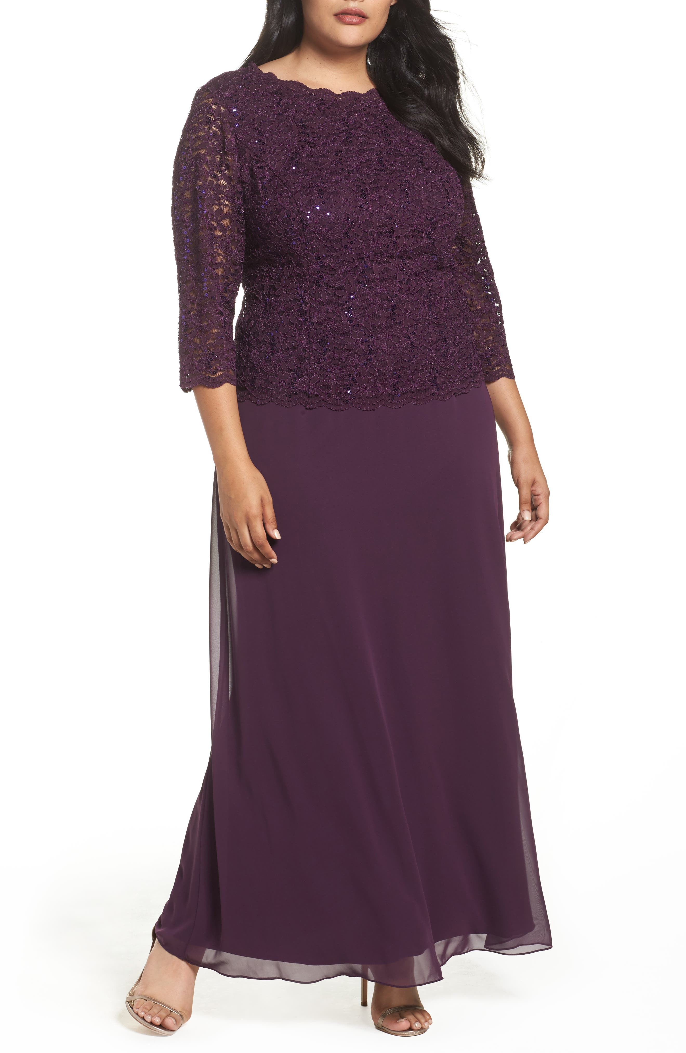 Embellished Lace & Chiffon Gown,                         Main,                         color, Deep Plum