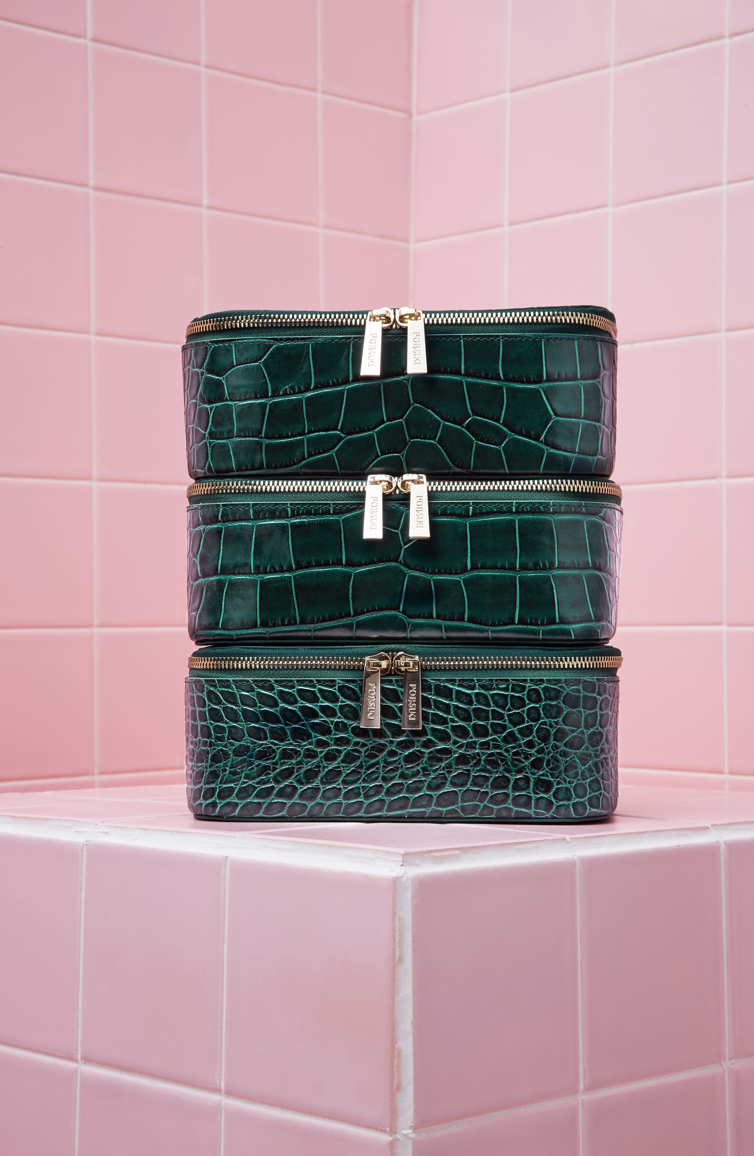 Bigger Croc Embossed Leather Makeup Case,                             Alternate thumbnail 4, color,                             Emerald