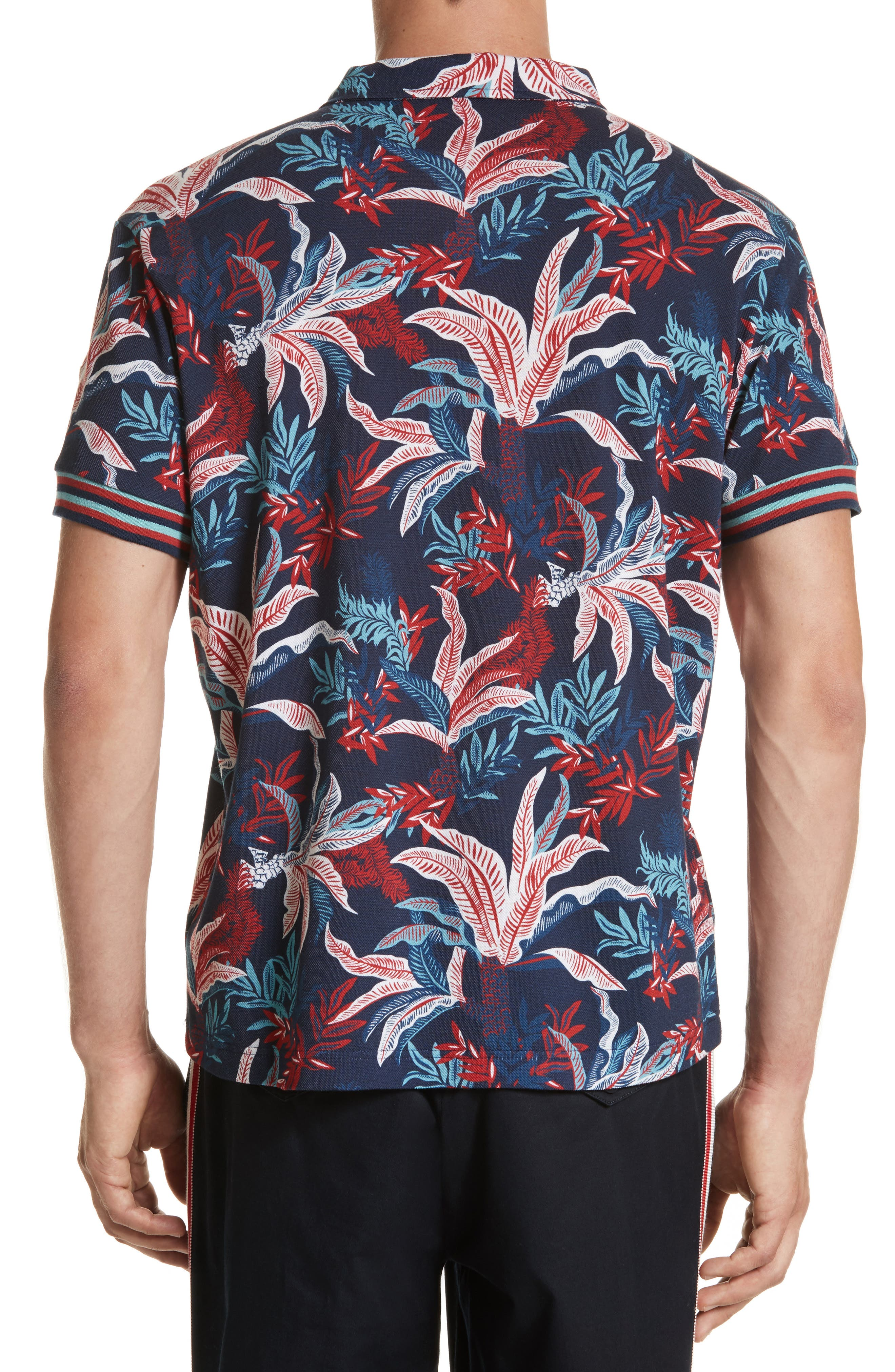 Floral Print Polo,                             Alternate thumbnail 2, color,                             Dark Blue