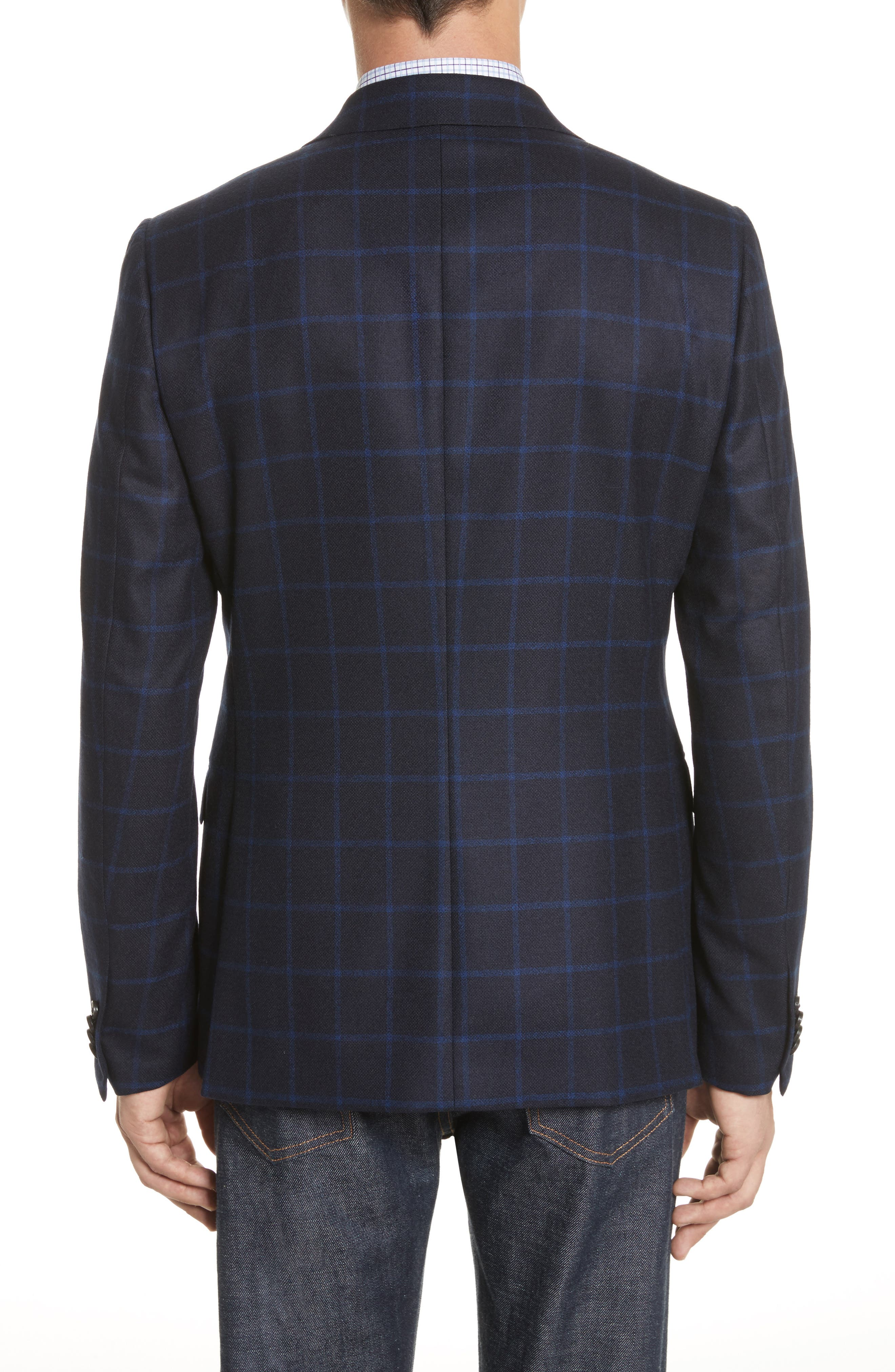 Classic Fit Check Wool Sport Coat,                             Alternate thumbnail 2, color,                             Navy Check