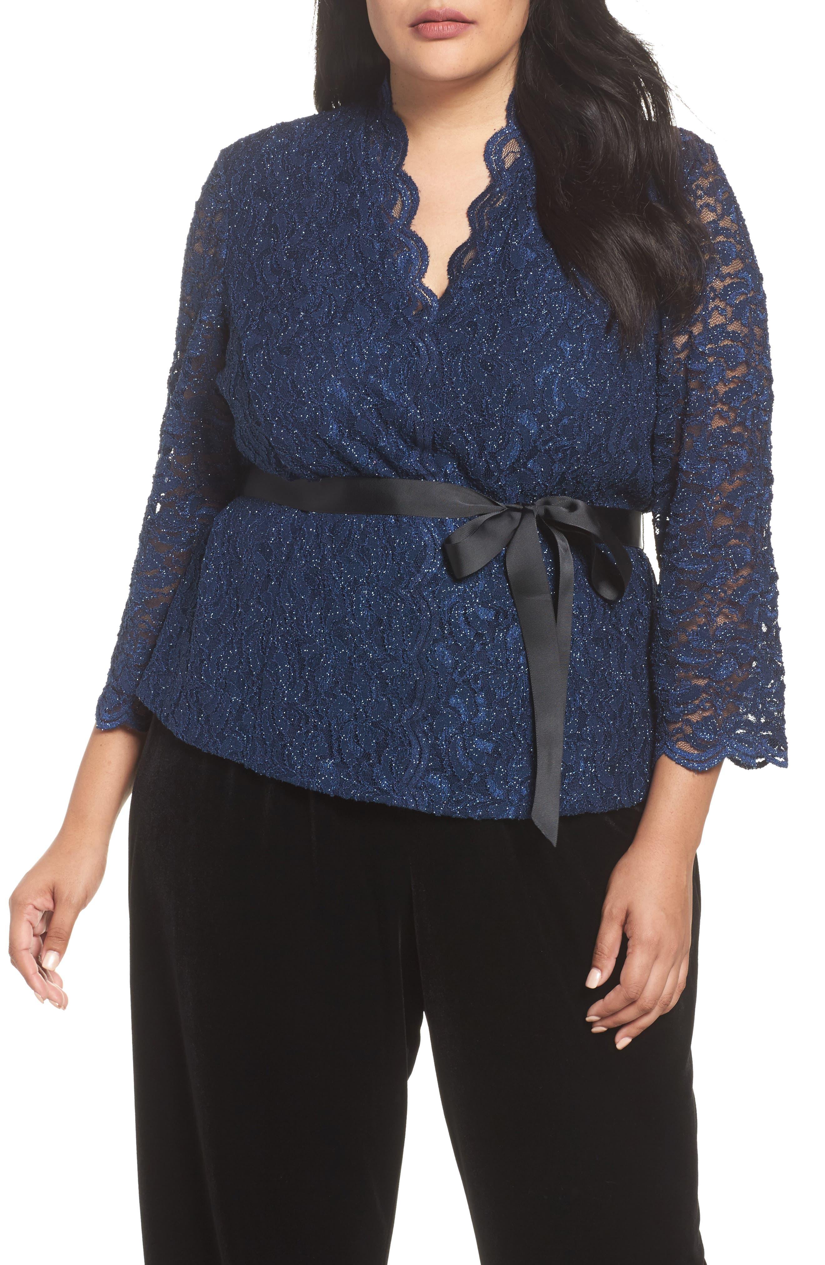 Alex Evenings Glitter Detail Lace V-Neck Blouse (Plus Size)