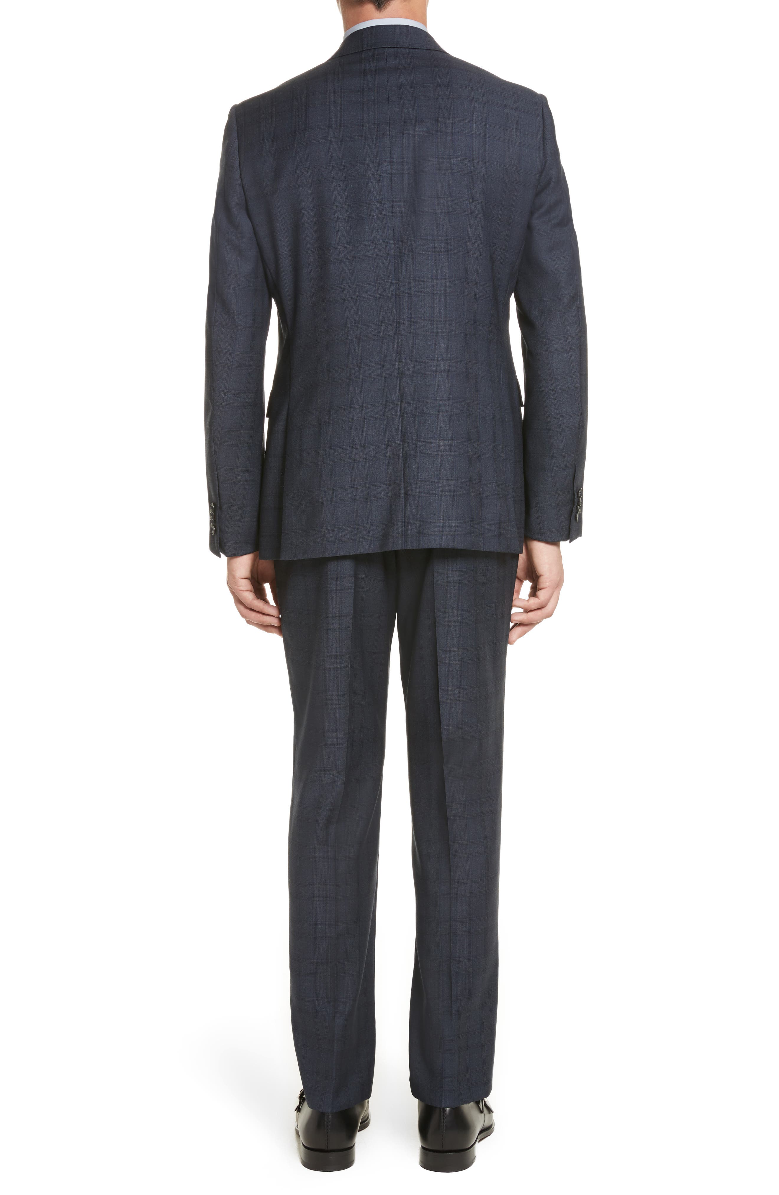 Classic Fit Check Wool Suit,                             Alternate thumbnail 2, color,                             Navy Check