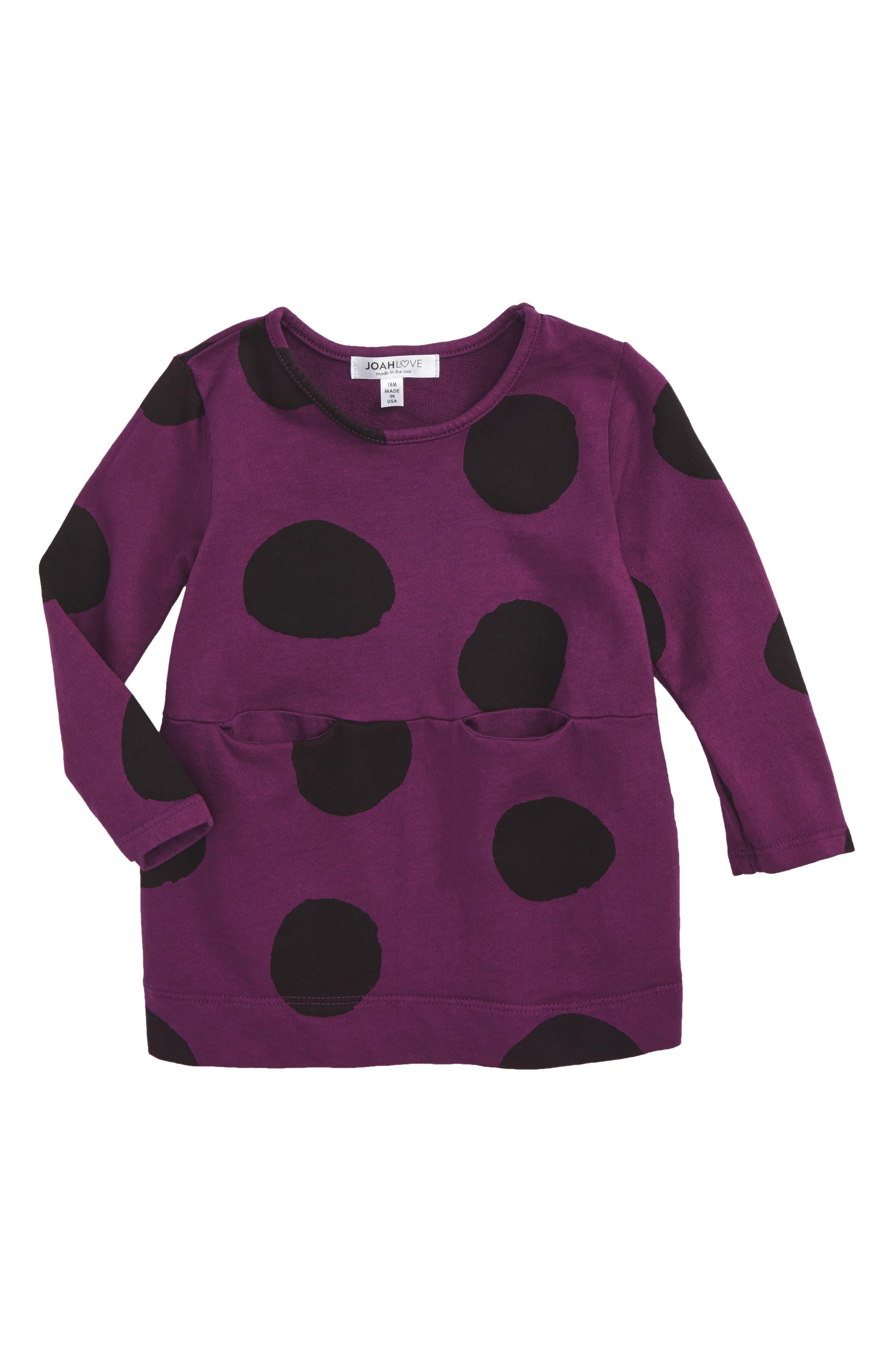 Dot Dress,                             Main thumbnail 1, color,                             Crimson/ Purple