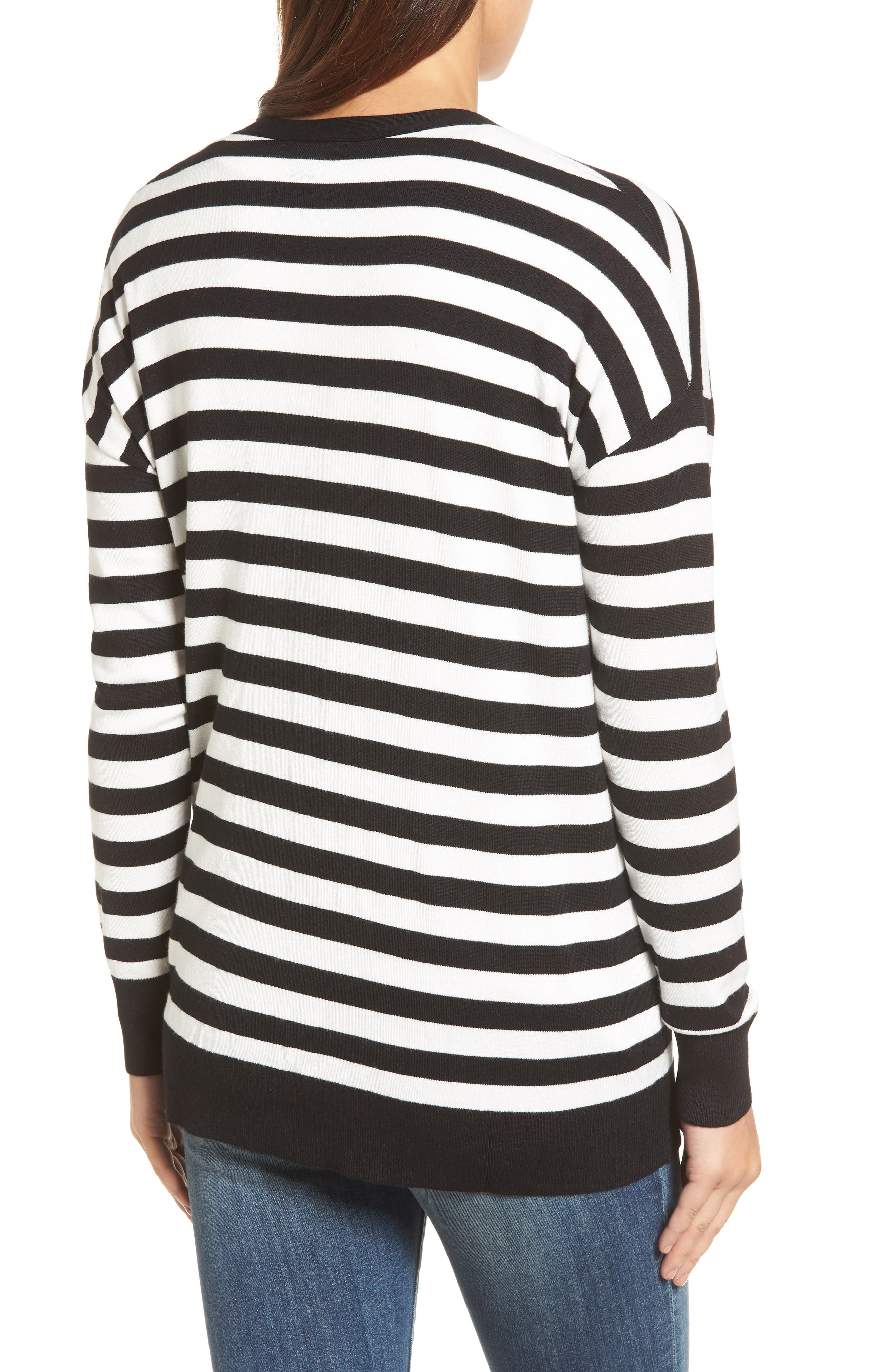Relaxed Pocket Cardigan,                             Alternate thumbnail 3, color,                             Black- Ivory Stripe