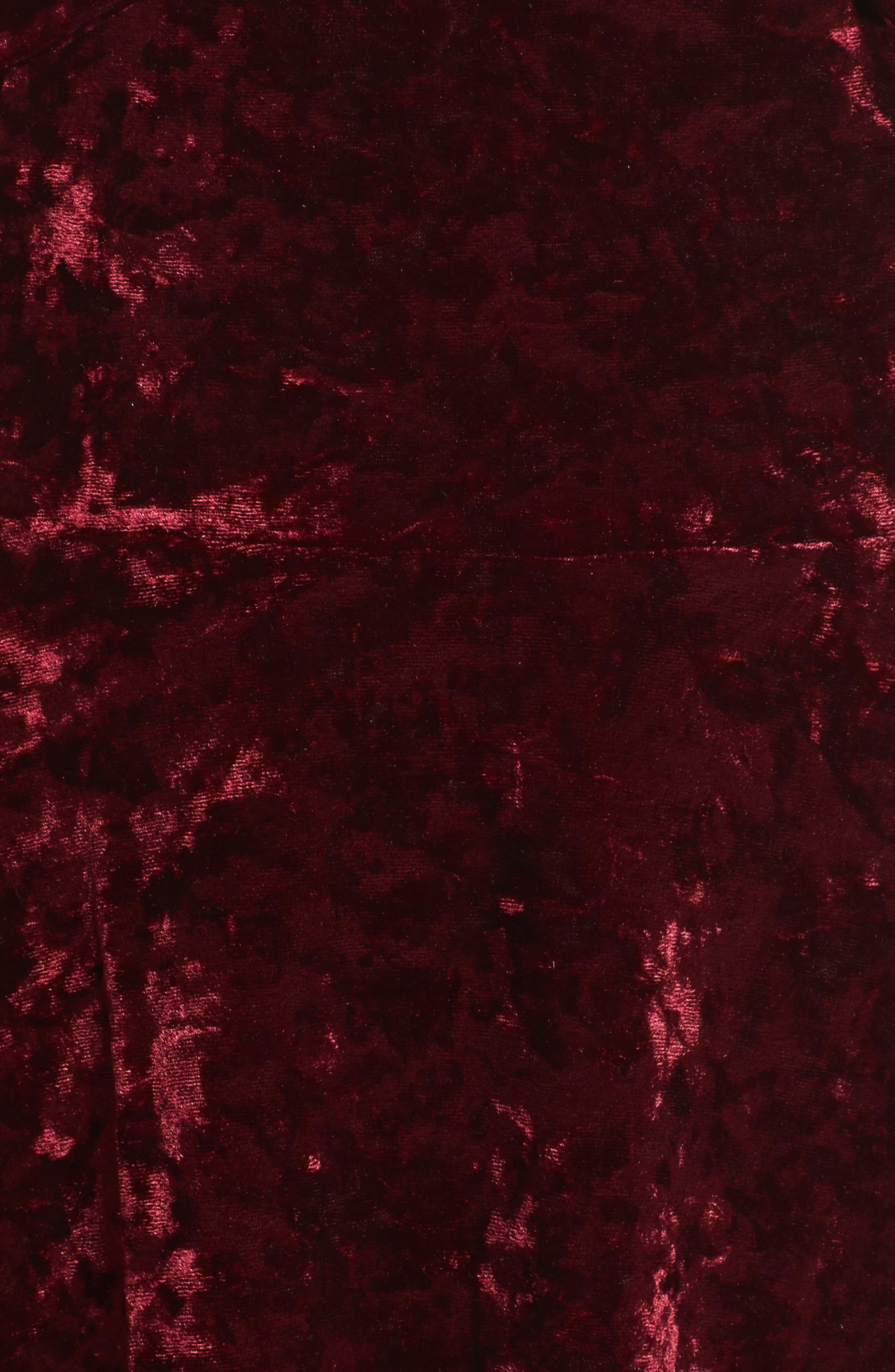 Off the Shoulder Velvet A-Line Dress,                             Alternate thumbnail 5, color,                             Burgundy Fig