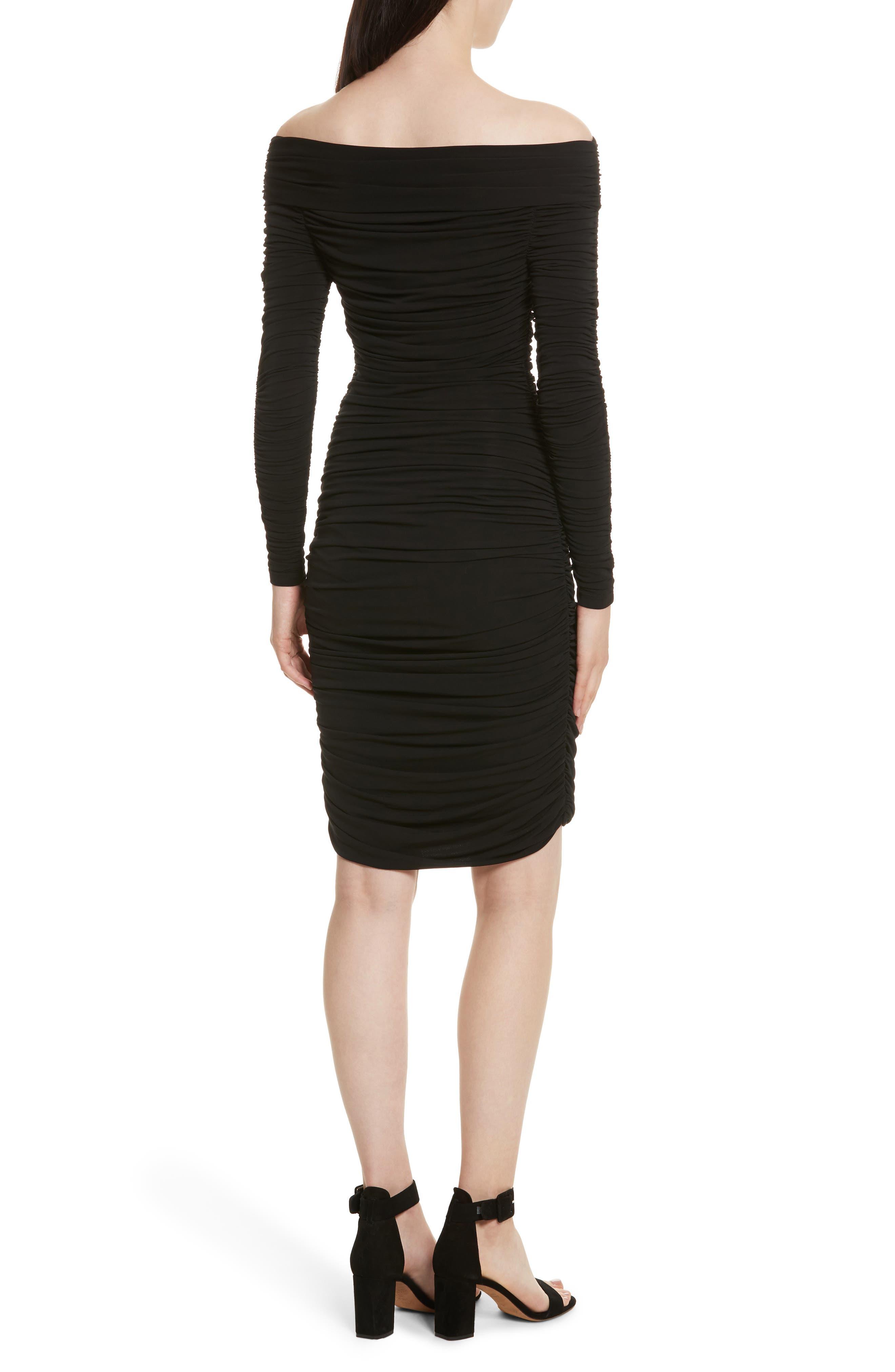 Blaise Off the Shoulder Ruched Dress,                             Alternate thumbnail 2, color,                             Black