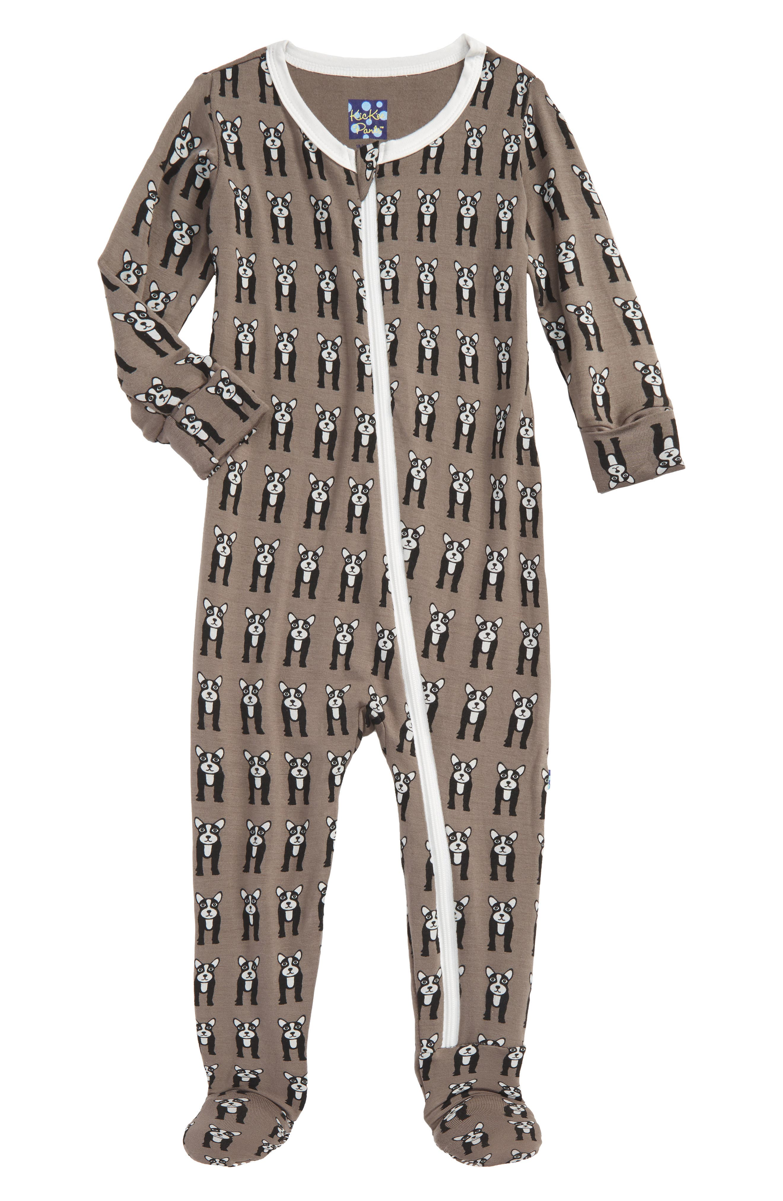 Fitted One-Piece Footie Pajamas,                         Main,                         color, French Bulldog