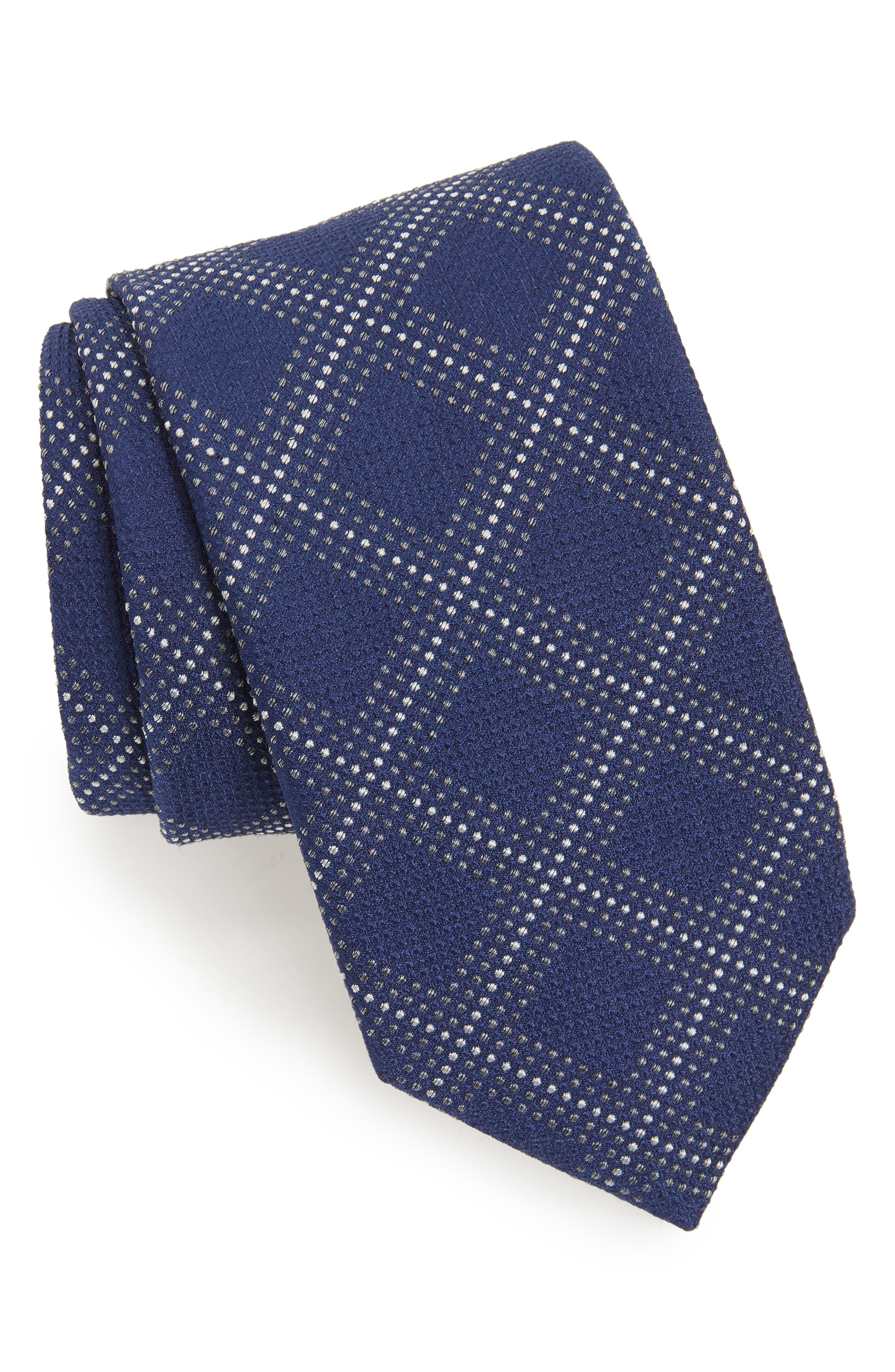 Main Image - Canali Grid Silk Blend Tie (X-Long)