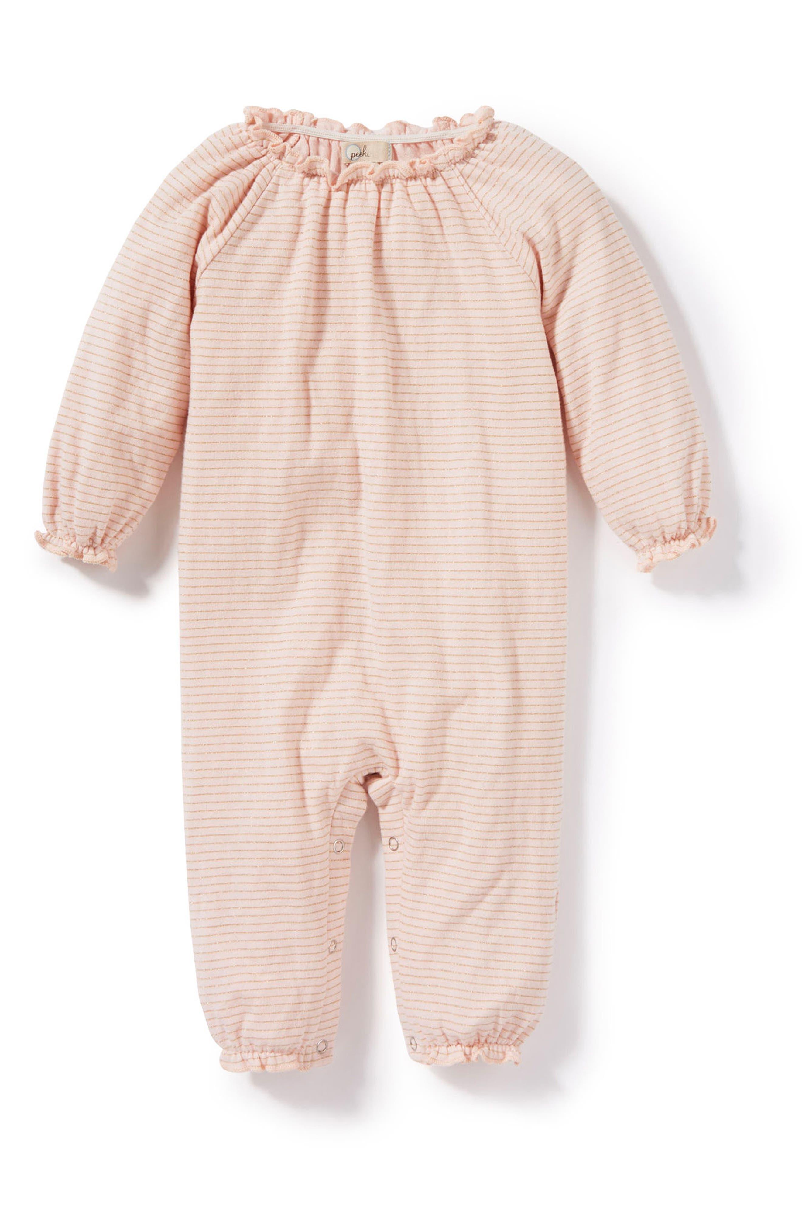 Alternate Image 1 Selected - Peek Stripe Romper (Baby Girls)