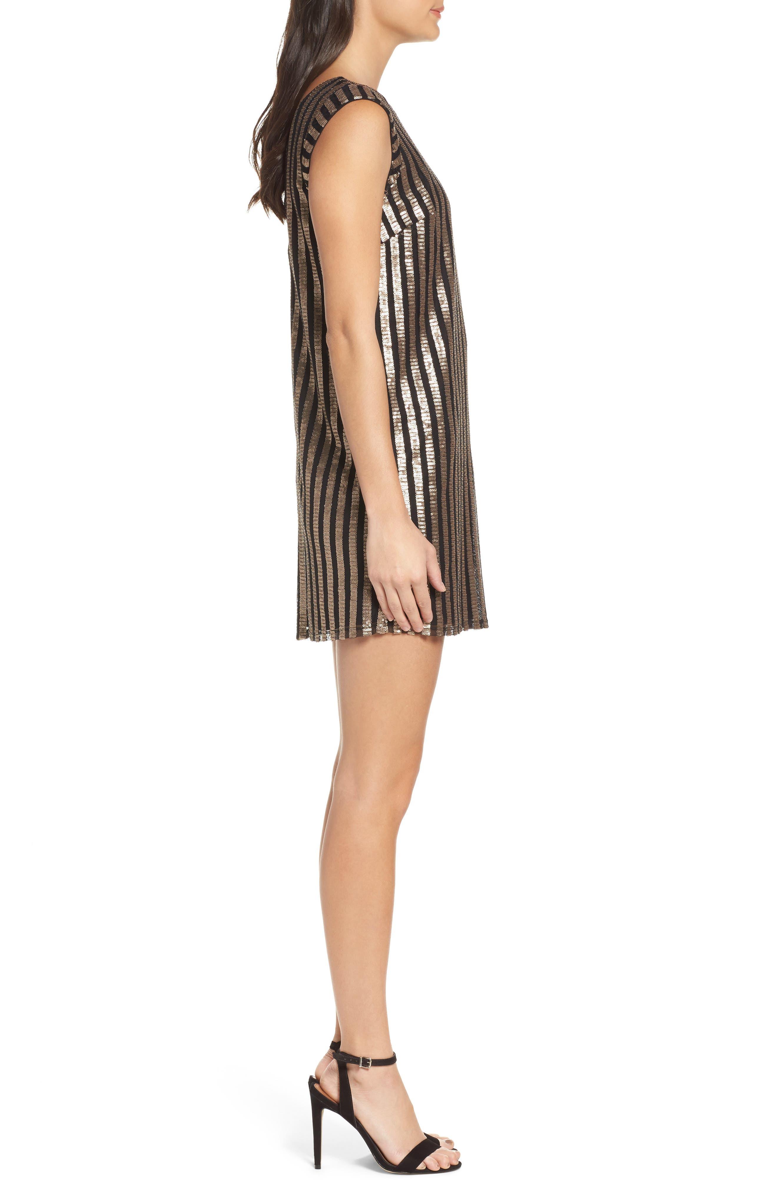 Bianca Sequin Minidress,                             Alternate thumbnail 4, color,                             Gold Sequin Stripe