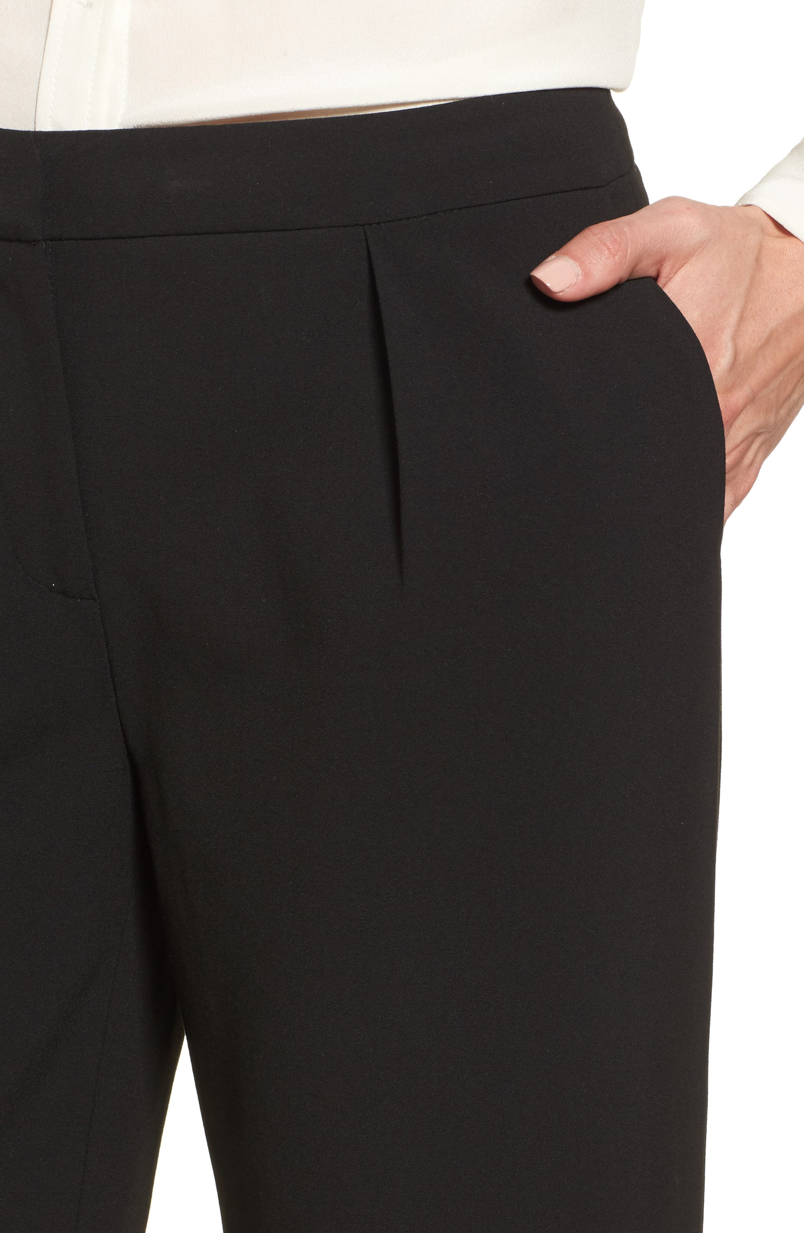 High Waist Wide Leg Pants,                             Alternate thumbnail 4, color,                             Black