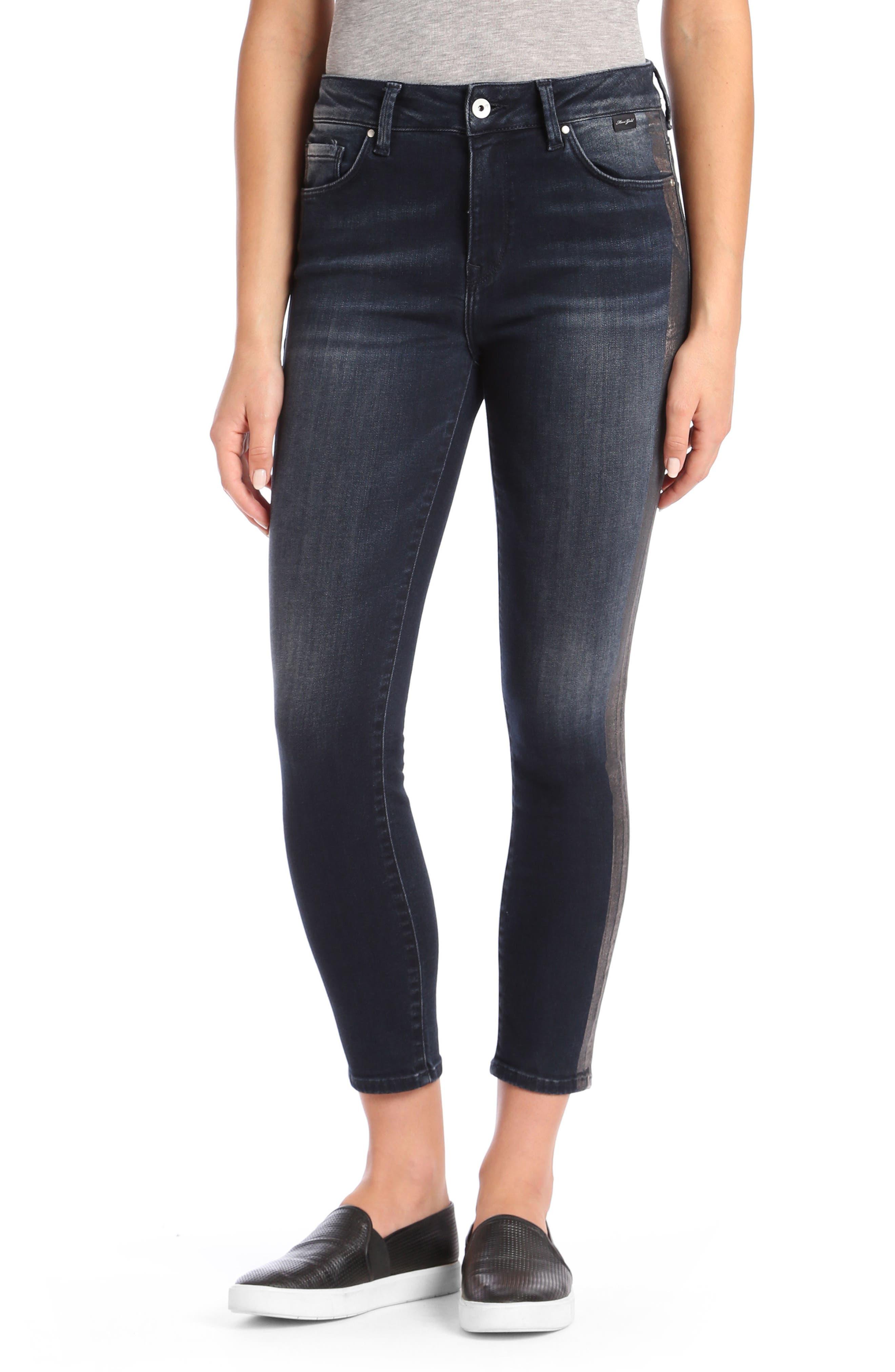 Mavi Tess High Waist Super Skinny Jeans,                         Main,                         color, Ink Tuxedo Gold Icon