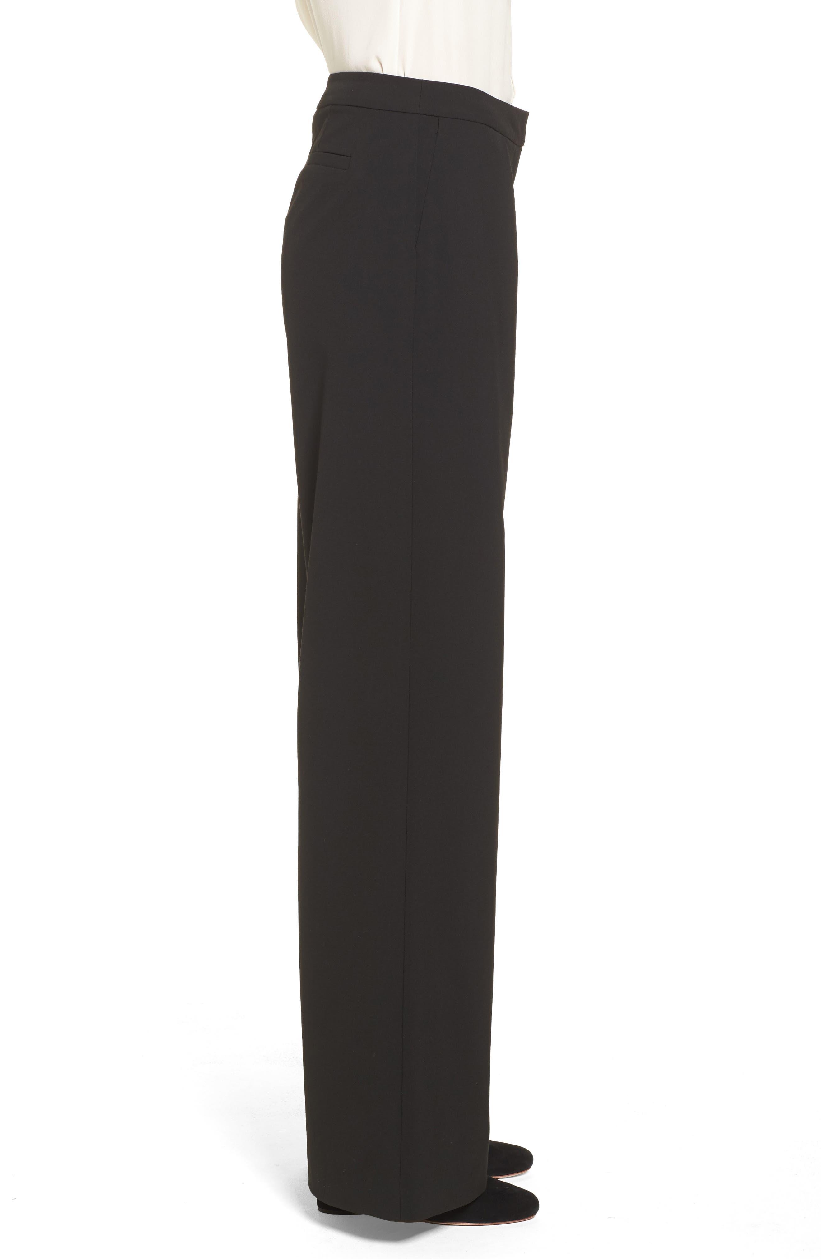 High Waist Wide Leg Pants,                             Alternate thumbnail 3, color,                             Black