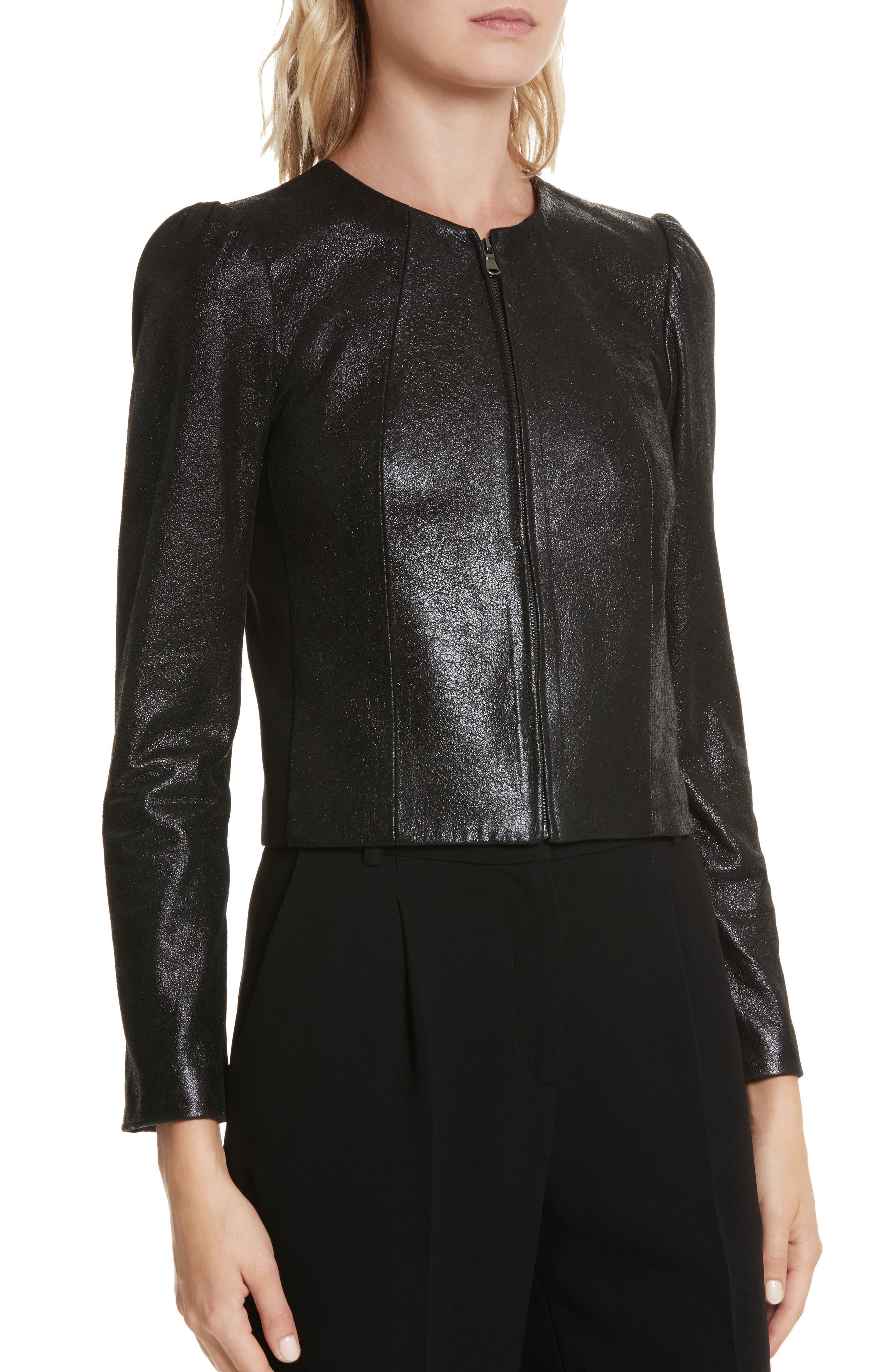 Metallic Leather Jacket,                             Alternate thumbnail 4, color,                             Black Sparkle