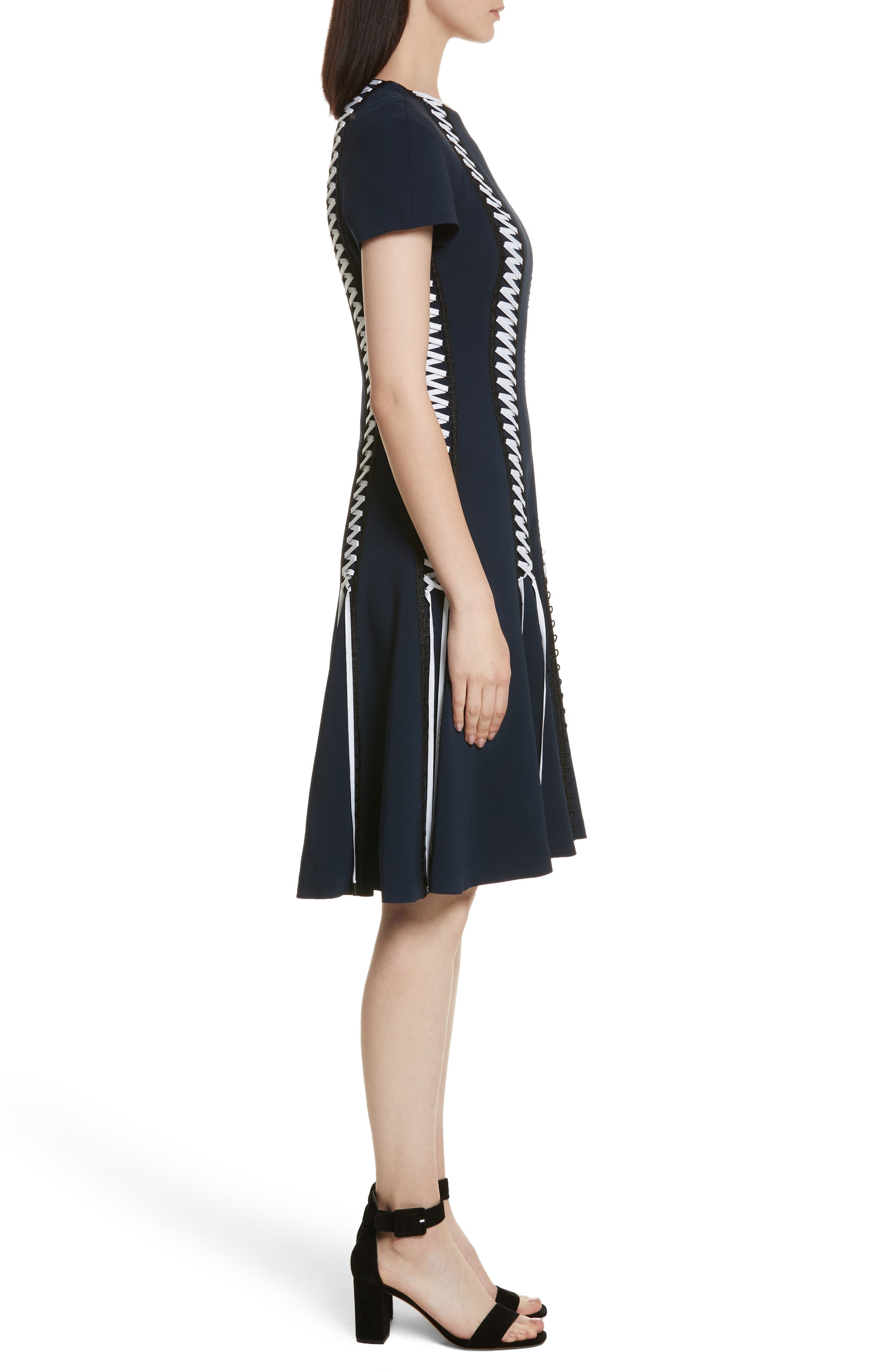 Lace-Up Crepe Dress,                             Alternate thumbnail 3, color,                             Midnight Combo