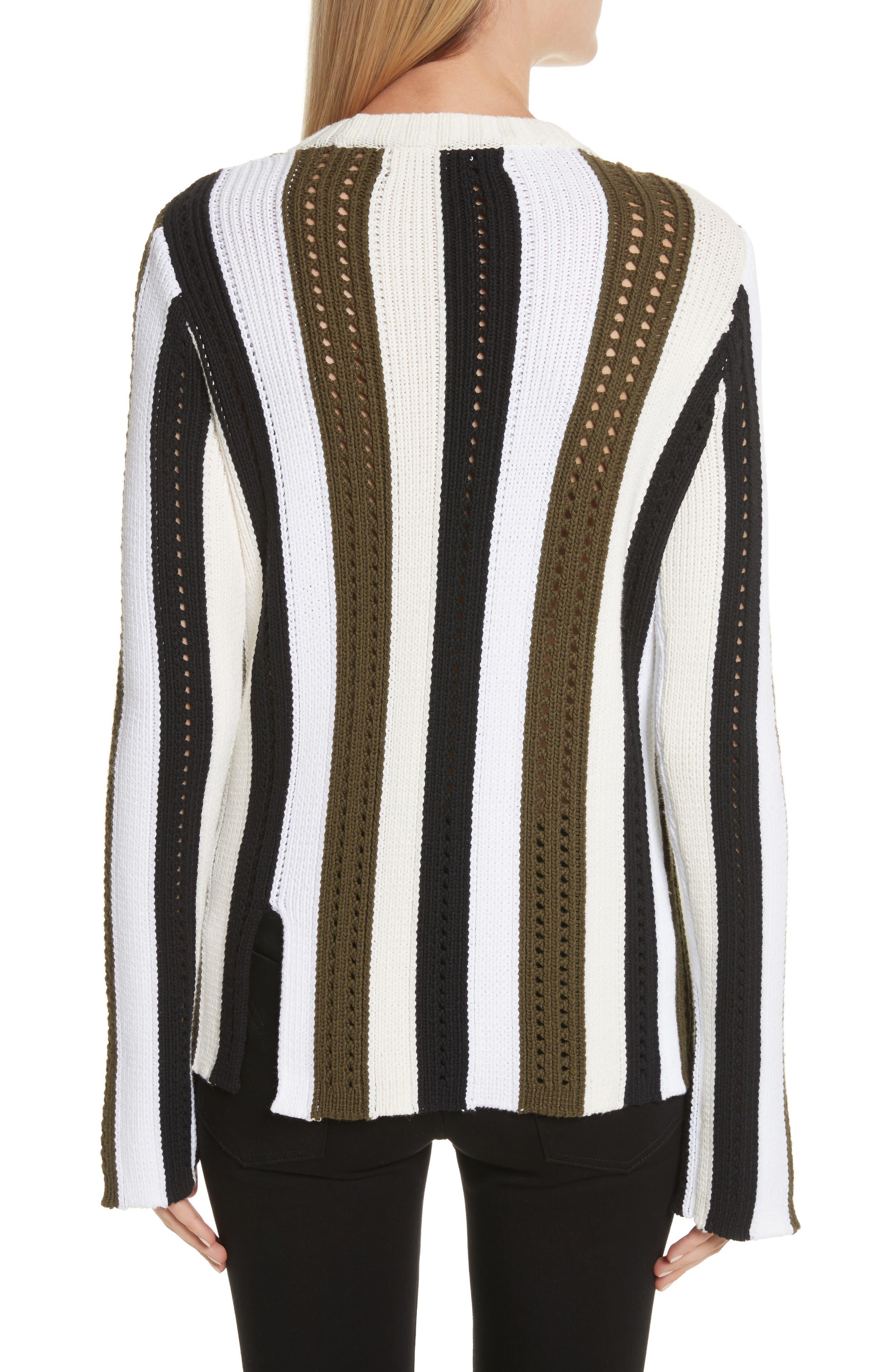 Pointelle Stripe Sweater,                             Alternate thumbnail 2, color,                             Army Multi