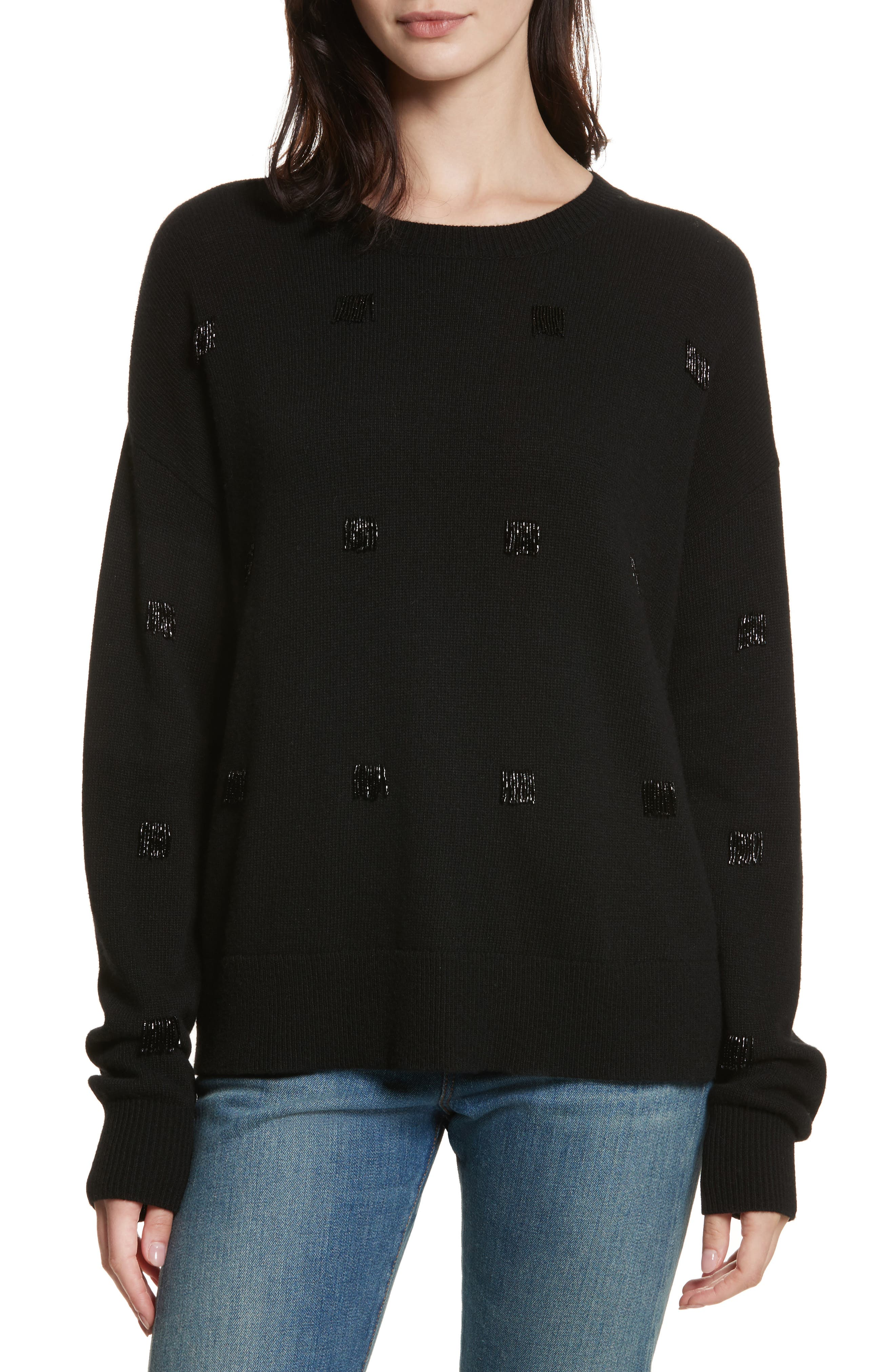 Fionn Beaded Fringe Sweater,                             Main thumbnail 1, color,                             Black