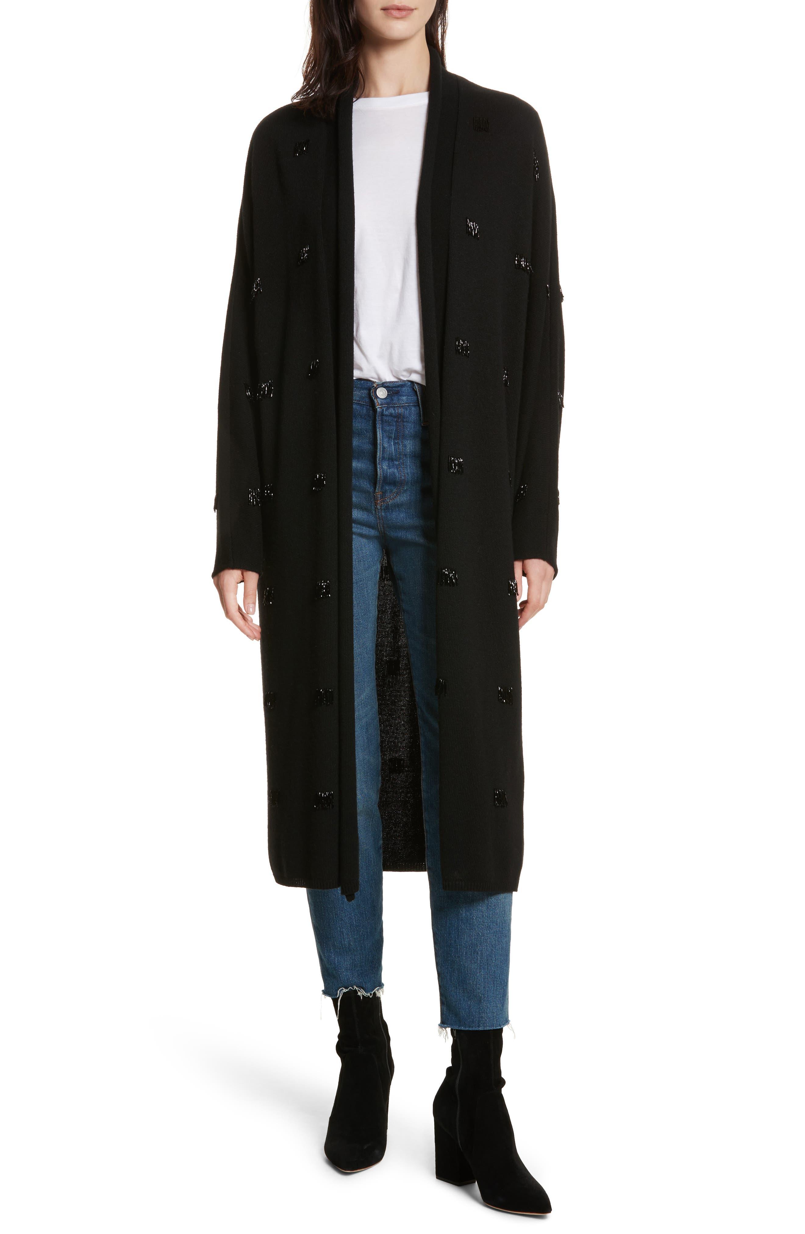 Kole Beaded Fringe Long Cardigan,                         Main,                         color, Black