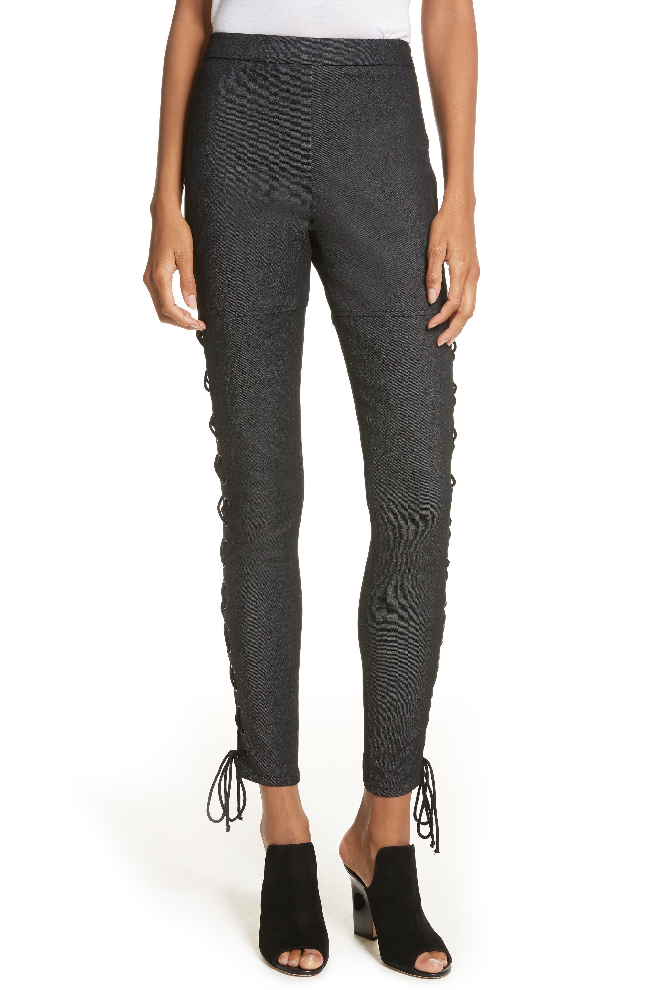 Kiran Lace-Up Stretch Denim Pants,                         Main,                         color, Black