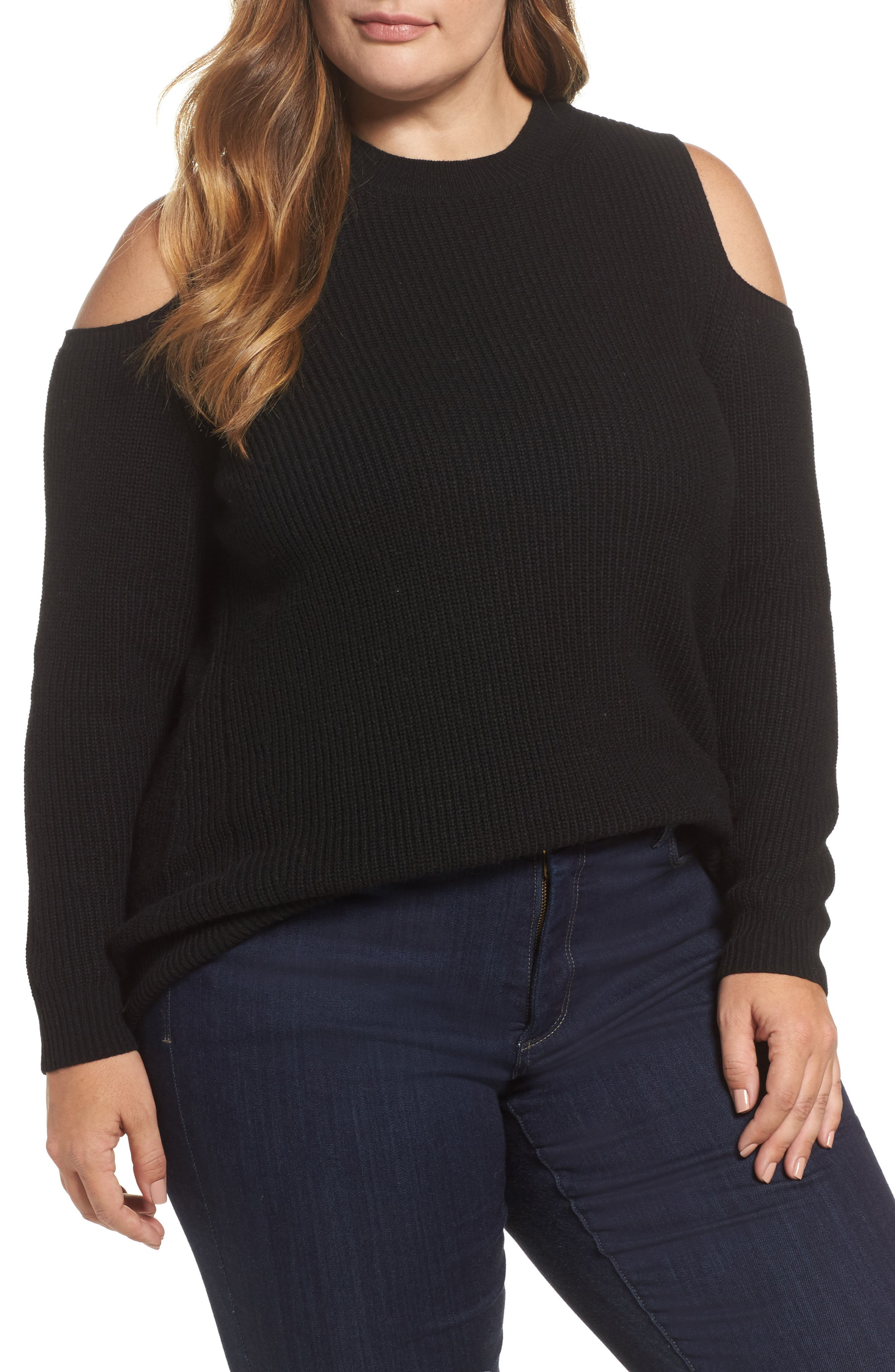 Cold Shoulder Sweater,                             Main thumbnail 1, color,                             Lucky Black