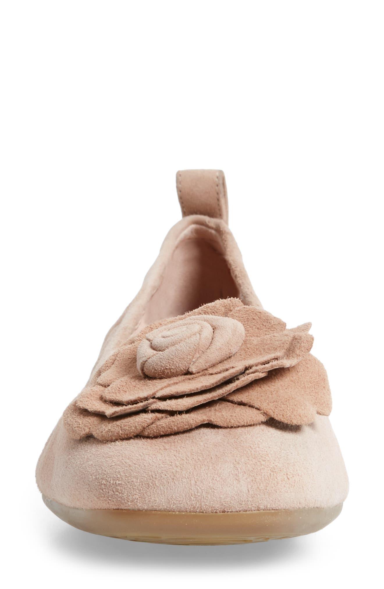 Rosalyn Ballet Flat,                             Alternate thumbnail 4, color,                             Soft Beige Suede