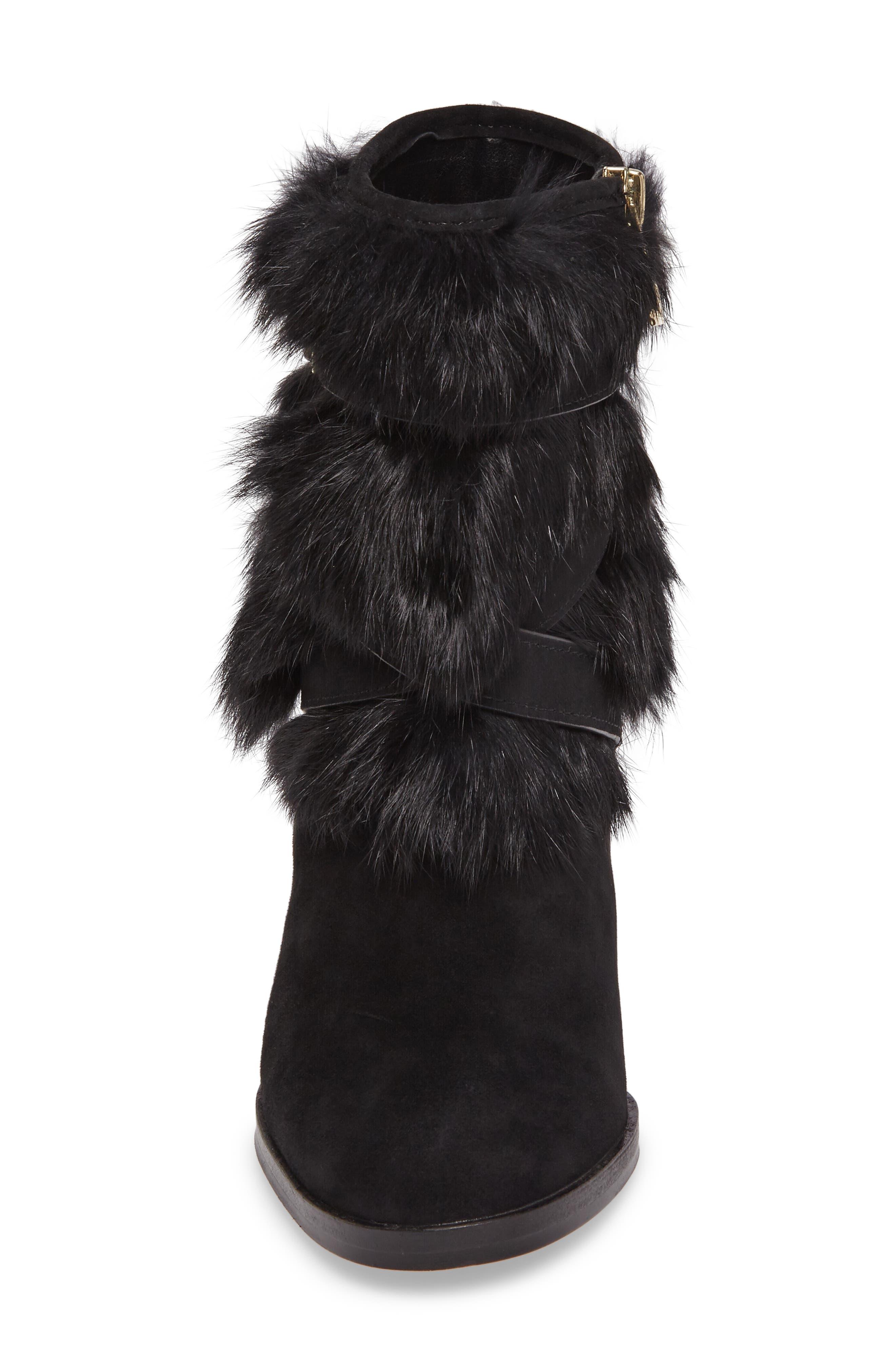Yuma Genuine Rabbit Fur Bootie,                             Alternate thumbnail 4, color,                             Black Suede