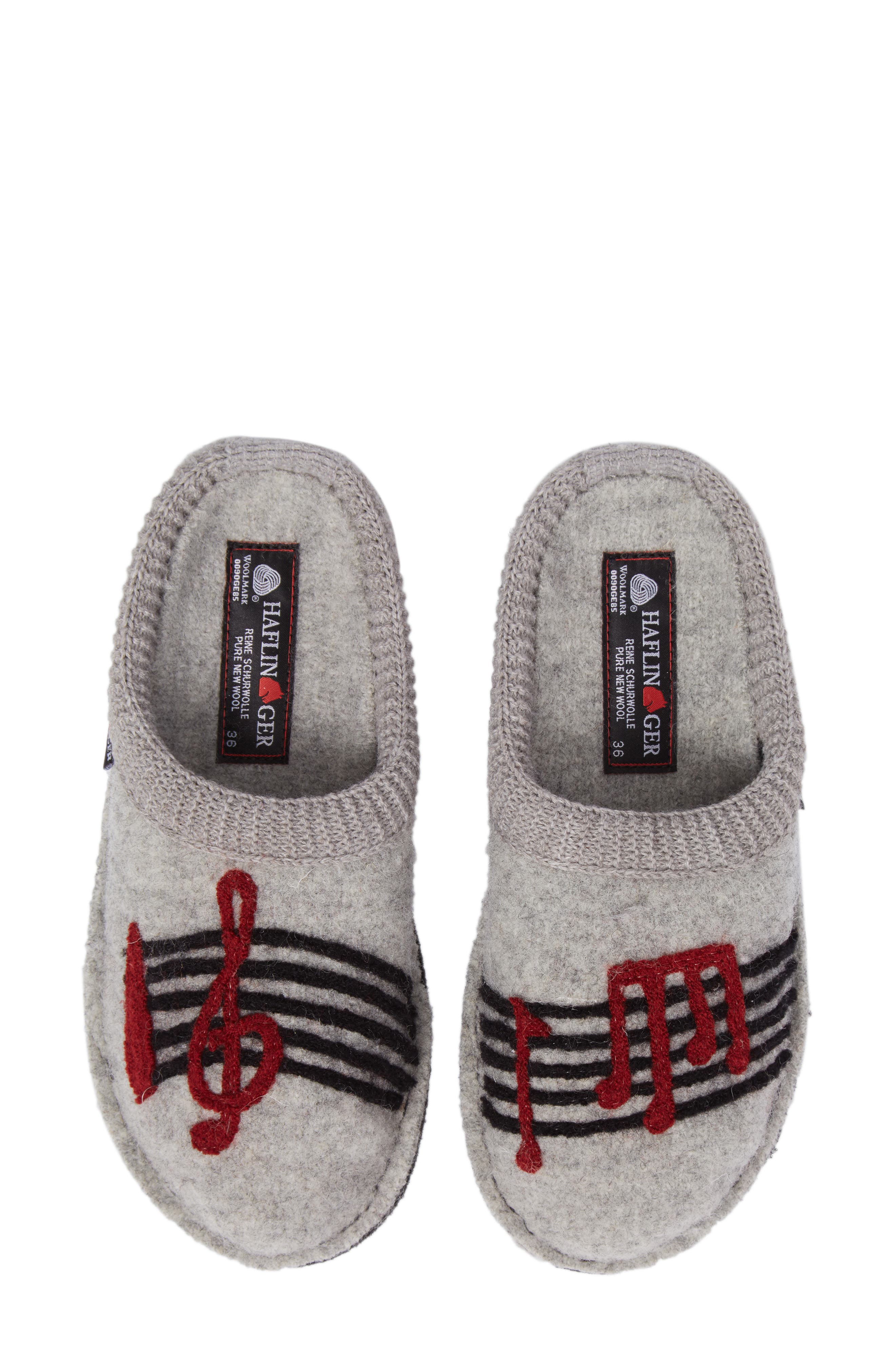 Beethoven Slipper,                         Main,                         color, Silver Grey Wool