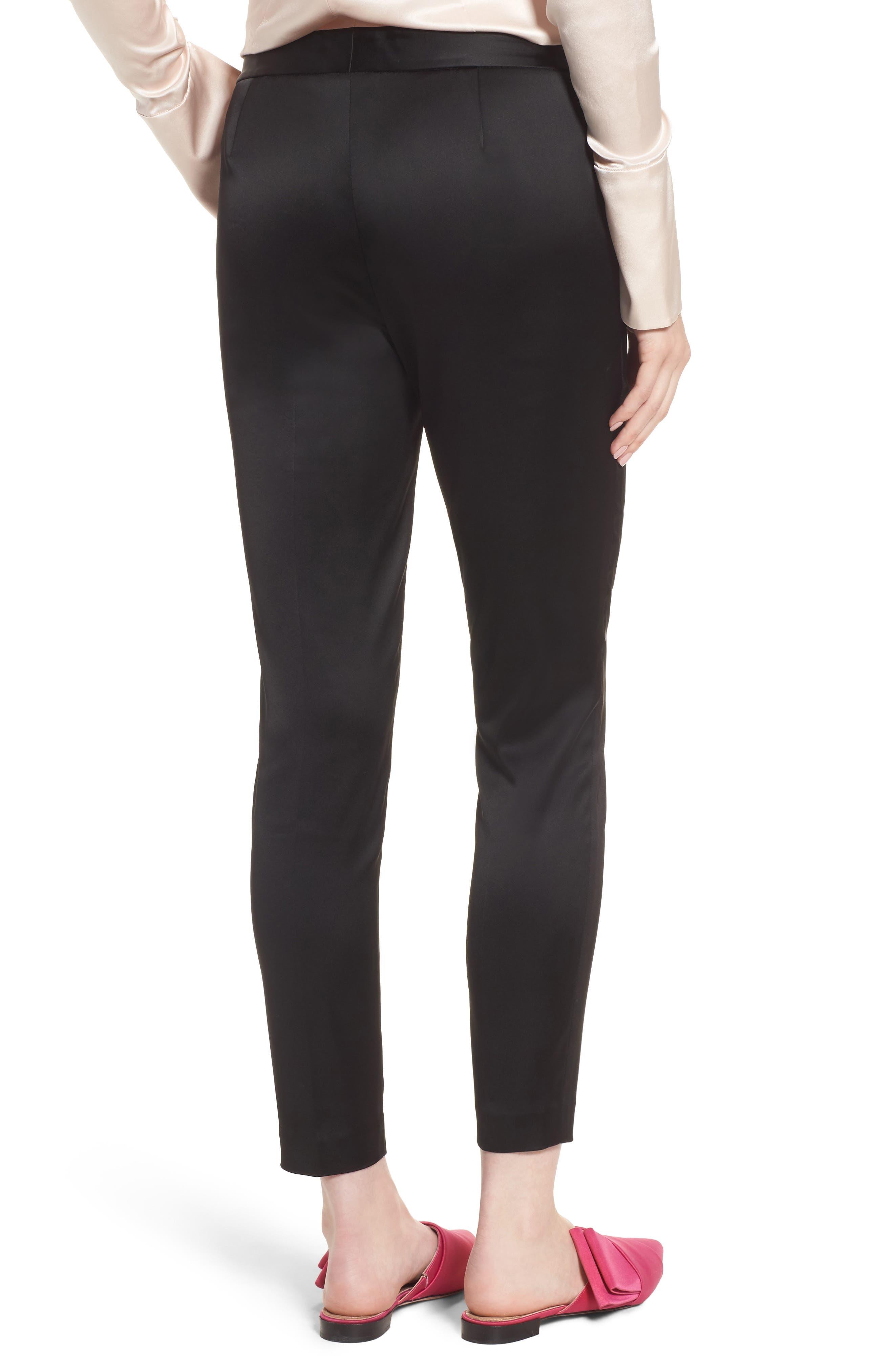 Stretch Satin Skinny Trousers,                             Alternate thumbnail 2, color,                             Black