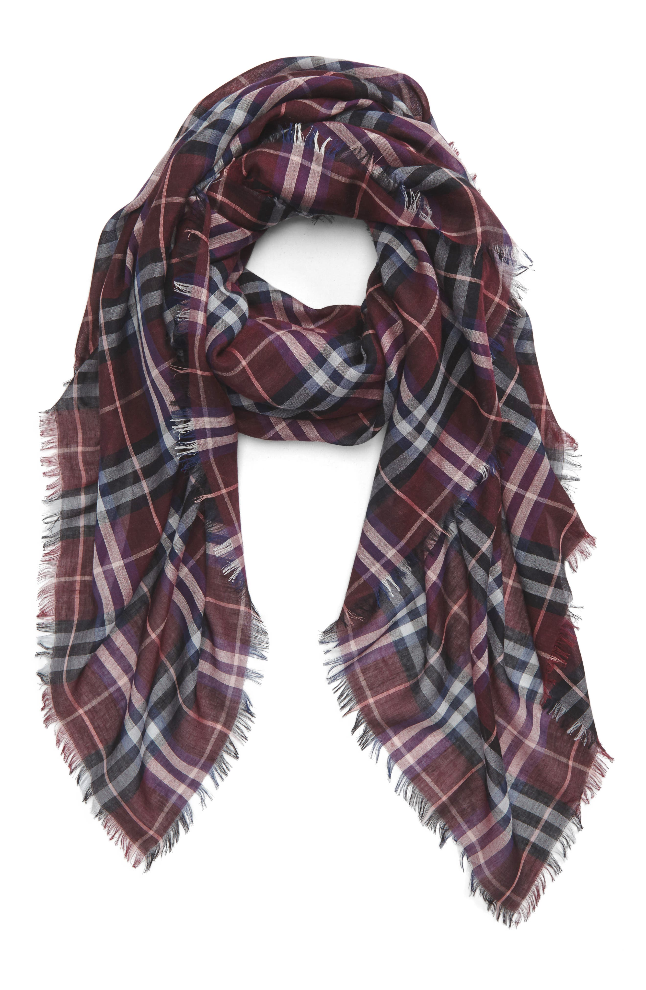 Castleford Check Wool & Modal Scarf,                             Main thumbnail 1, color,                             Claret