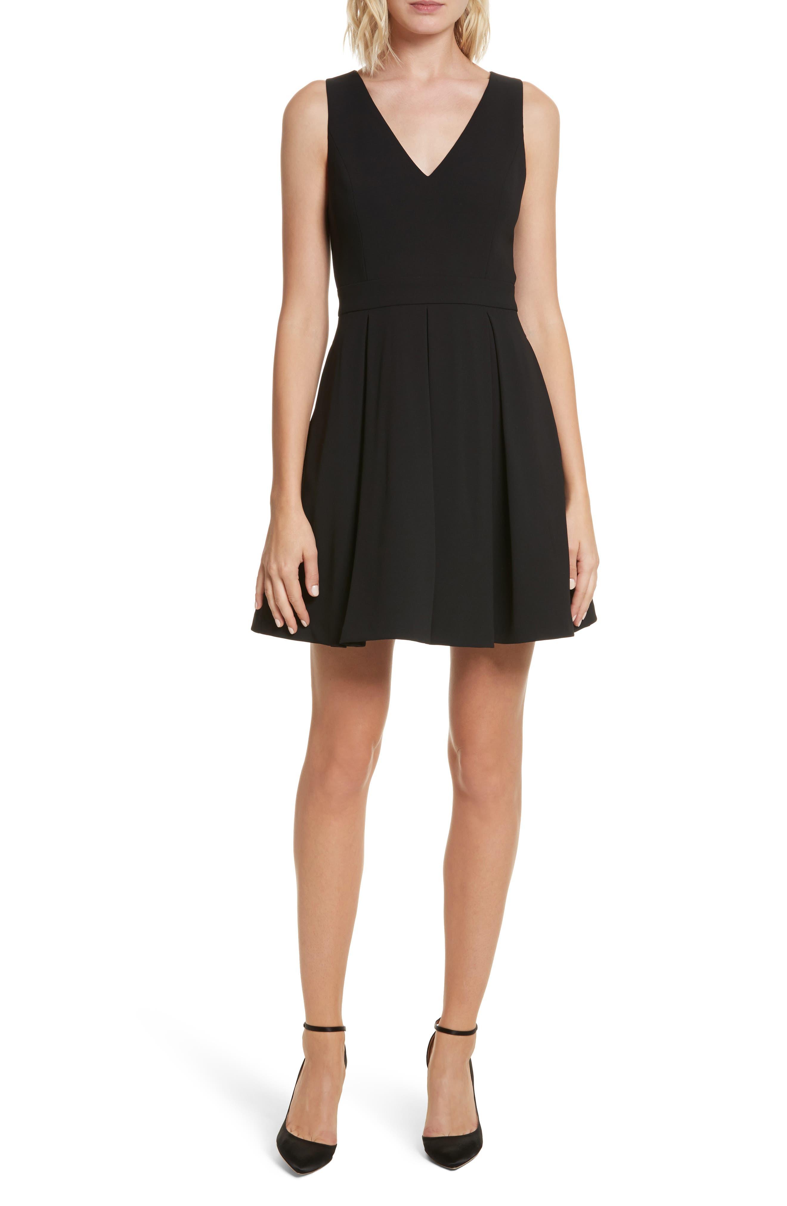Julieta Inverted Pleat Fit & Flare Dress,                             Main thumbnail 1, color,                             Black