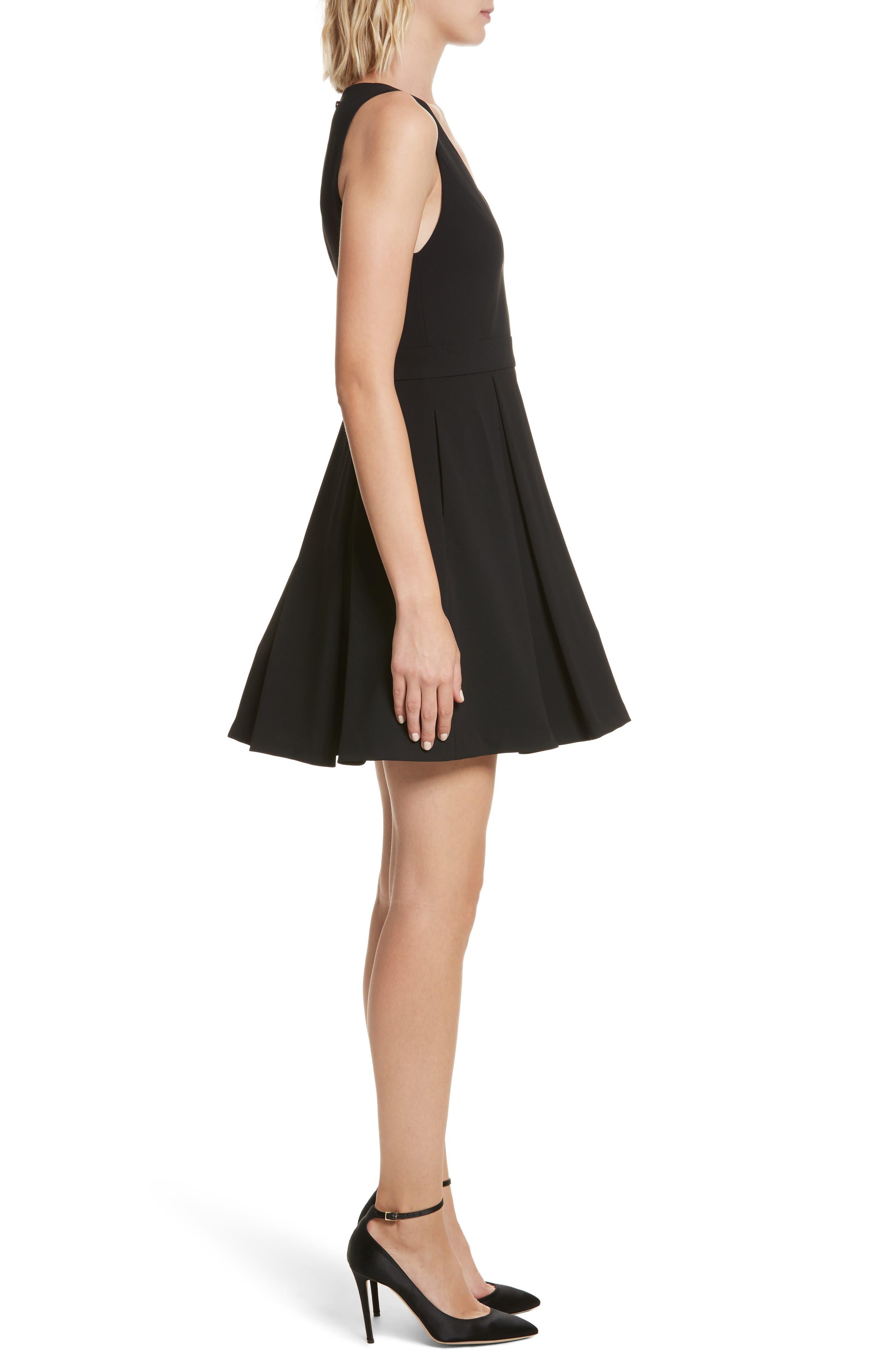 Julieta Inverted Pleat Fit & Flare Dress,                             Alternate thumbnail 3, color,                             Black