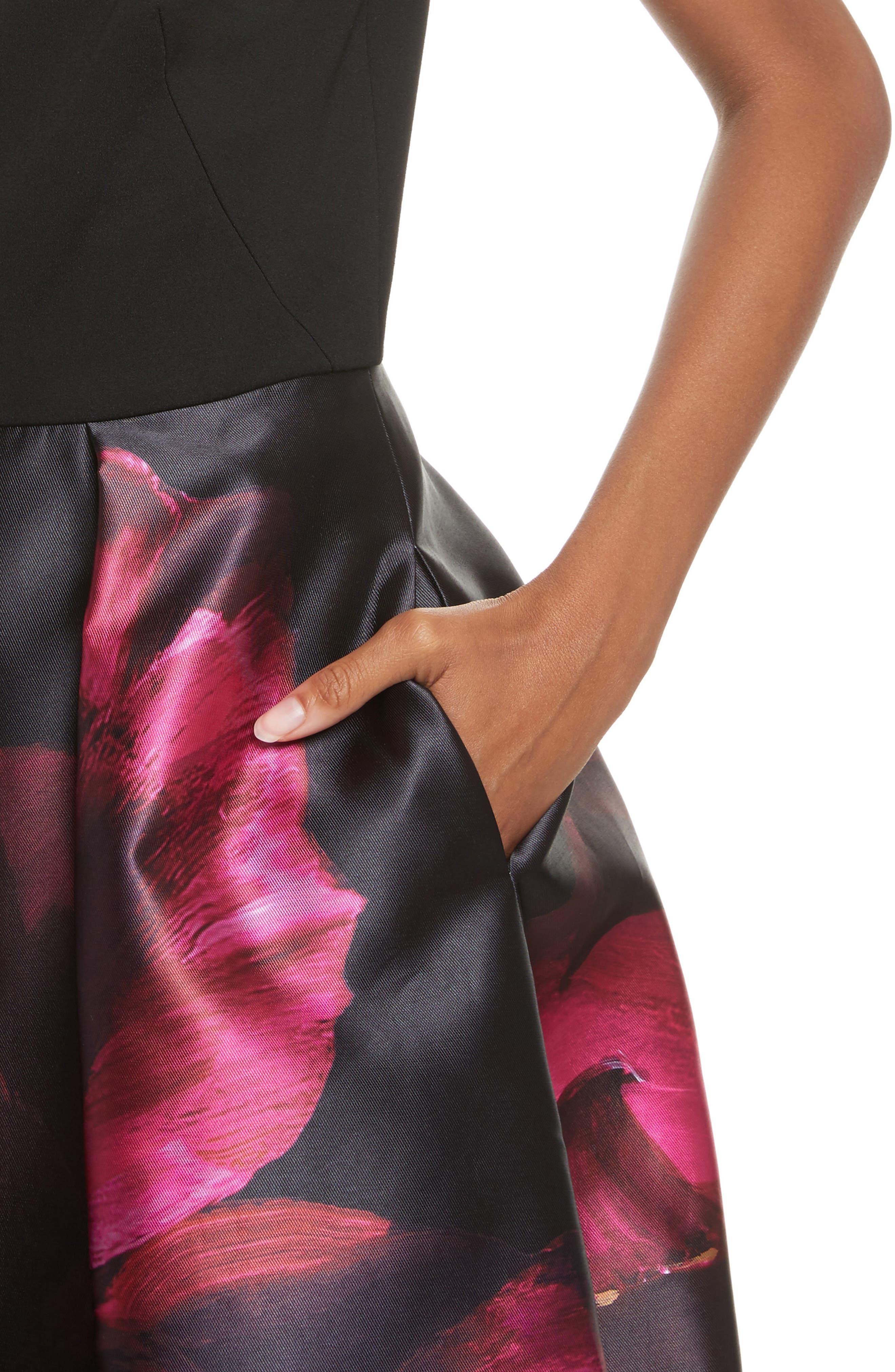 Kimey Impressionist Fit & Flare Dress,                             Alternate thumbnail 4, color,                             Black