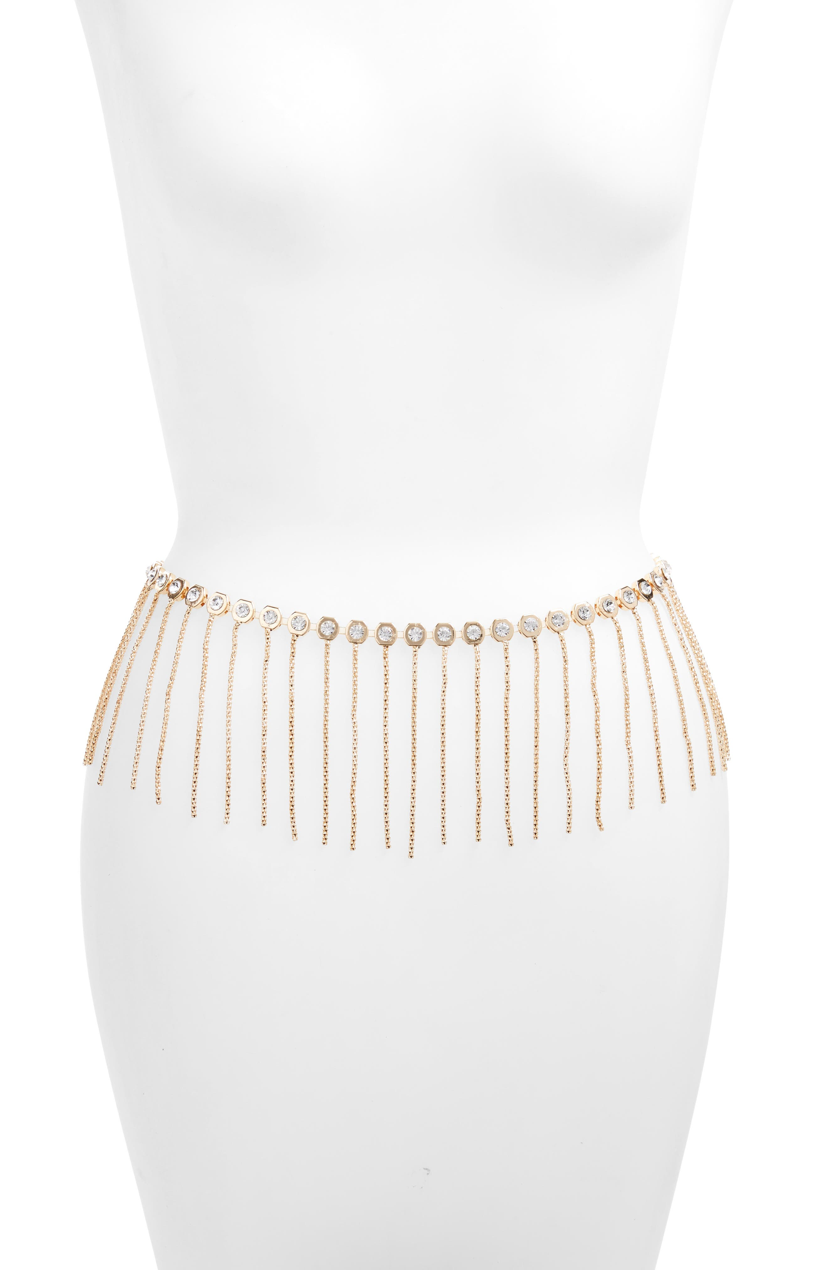 Amici Accessories Crystal Fringe Chain Belt