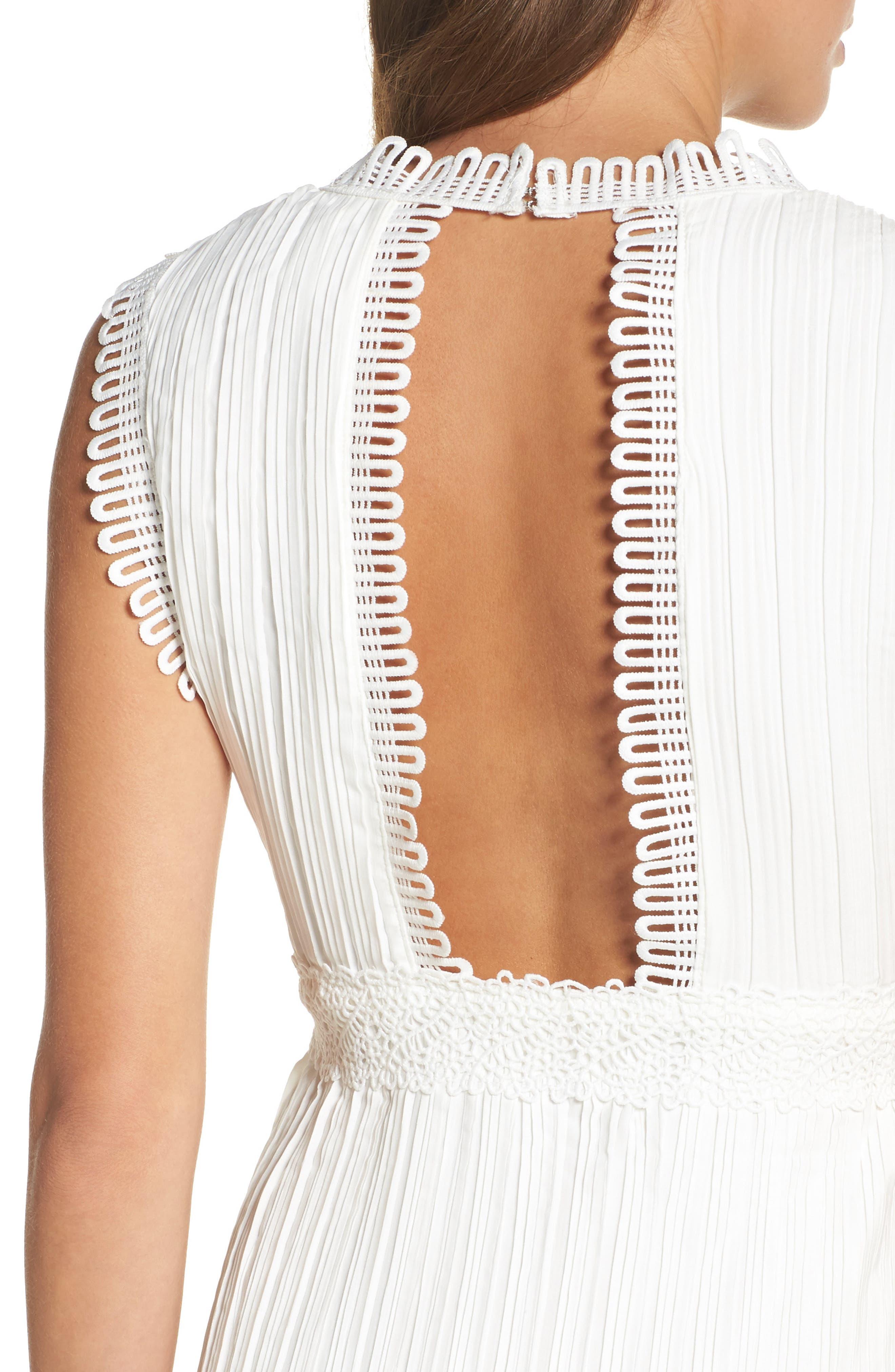 Jasmine Lace Inset Pleated Dress,                             Alternate thumbnail 4, color,                             Ivory