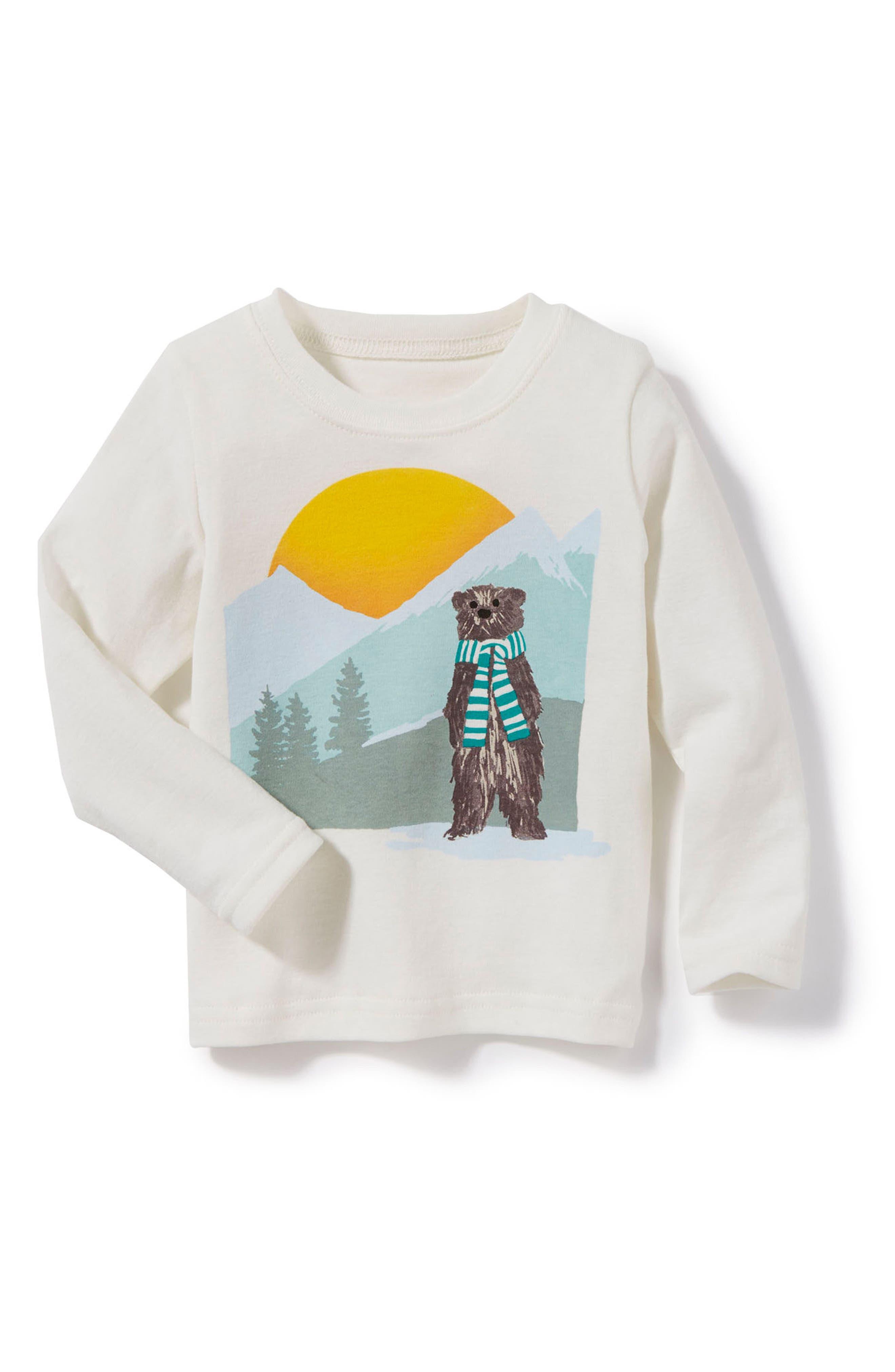 Peek Bear Graphic T-Shirt,                             Main thumbnail 1, color,                             Cream