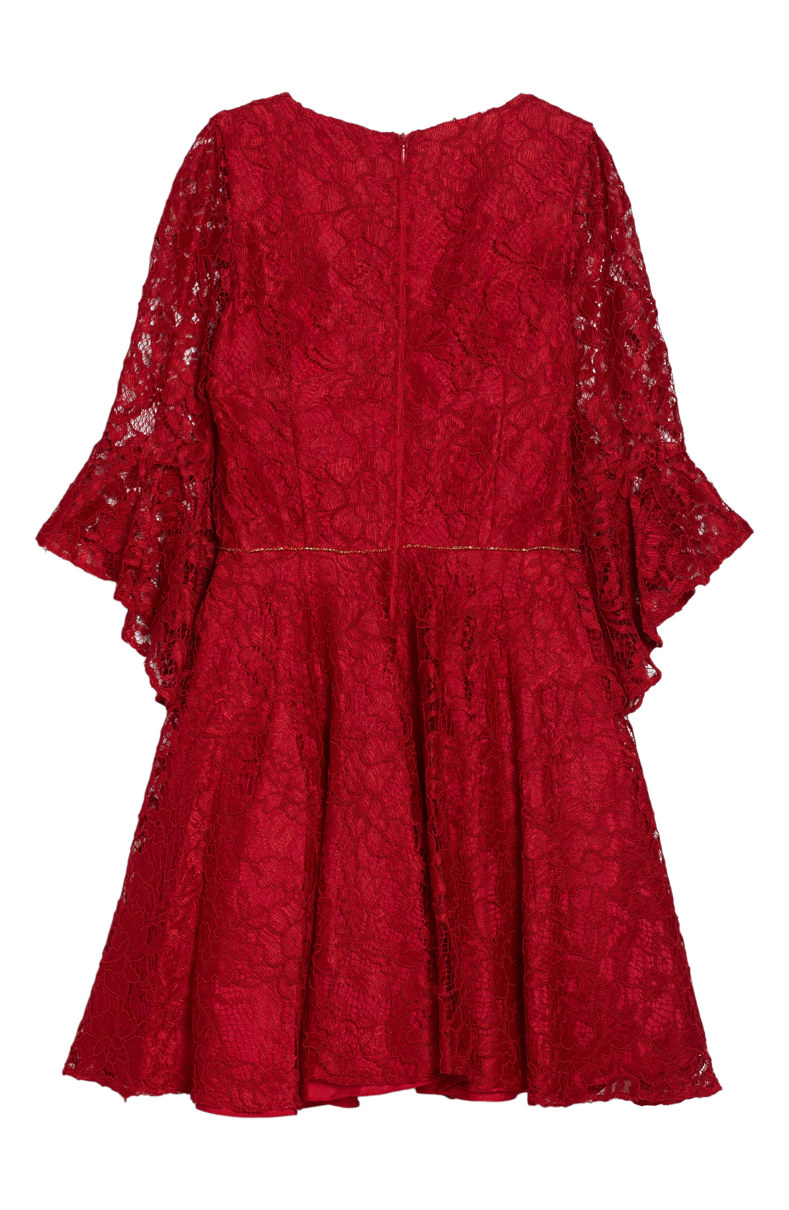 Alternate Image 4  - David Charles Bell Sleeve Lace Dress (Big Girls)