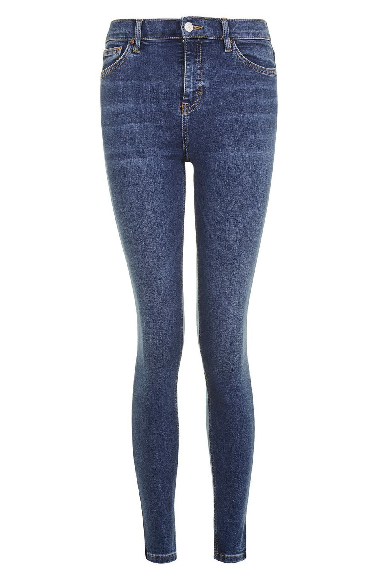 Jamie Indigo High Waist Skinny Jeans,                             Alternate thumbnail 4, color,                             Indigo