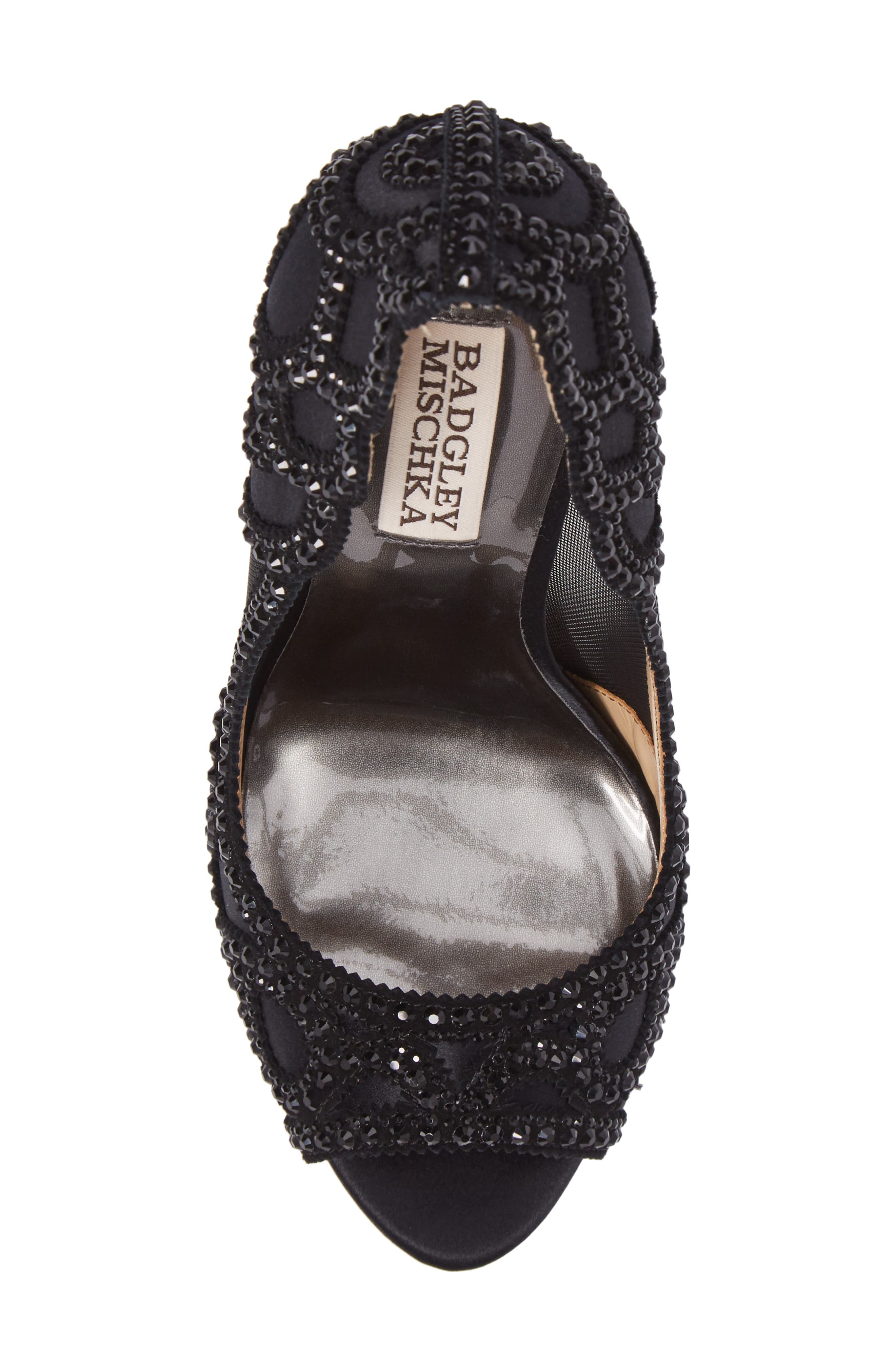 Witney Embellished Peep Toe Pump,                             Alternate thumbnail 5, color,                             Black Satin