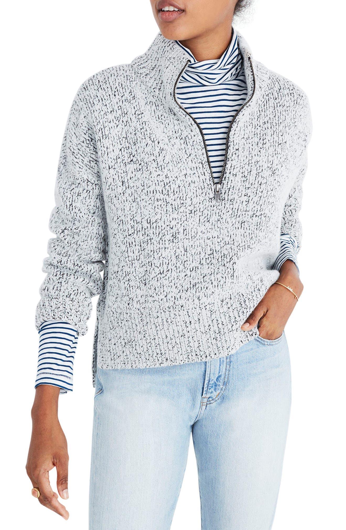 Marled Half Zip Sweater,                         Main,                         color, Marled Slate
