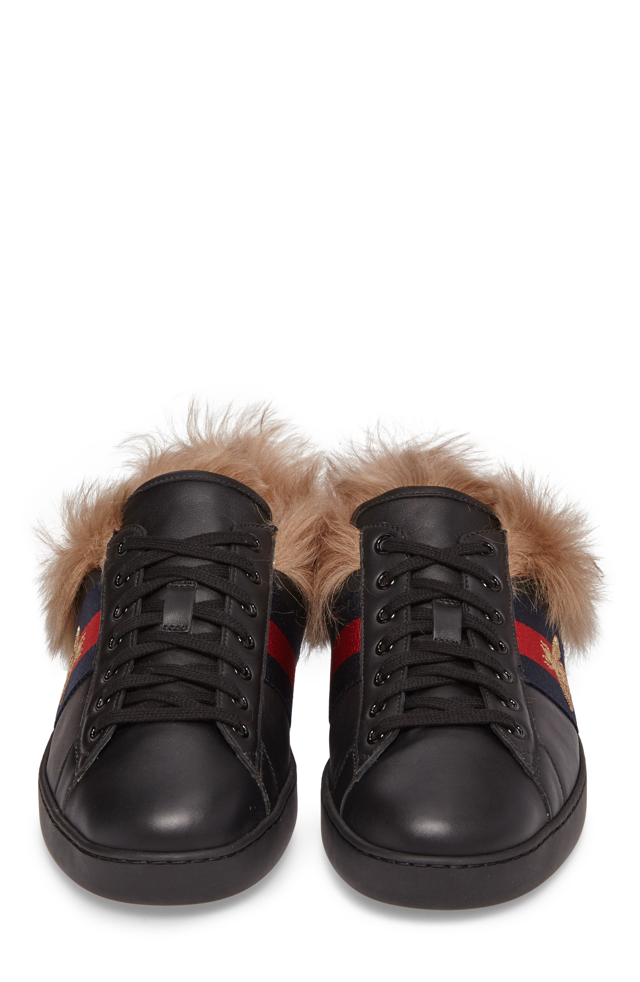 Alternate Image 4  - Gucci New Ace Genuine Shearling Bee Sneaker (Men)