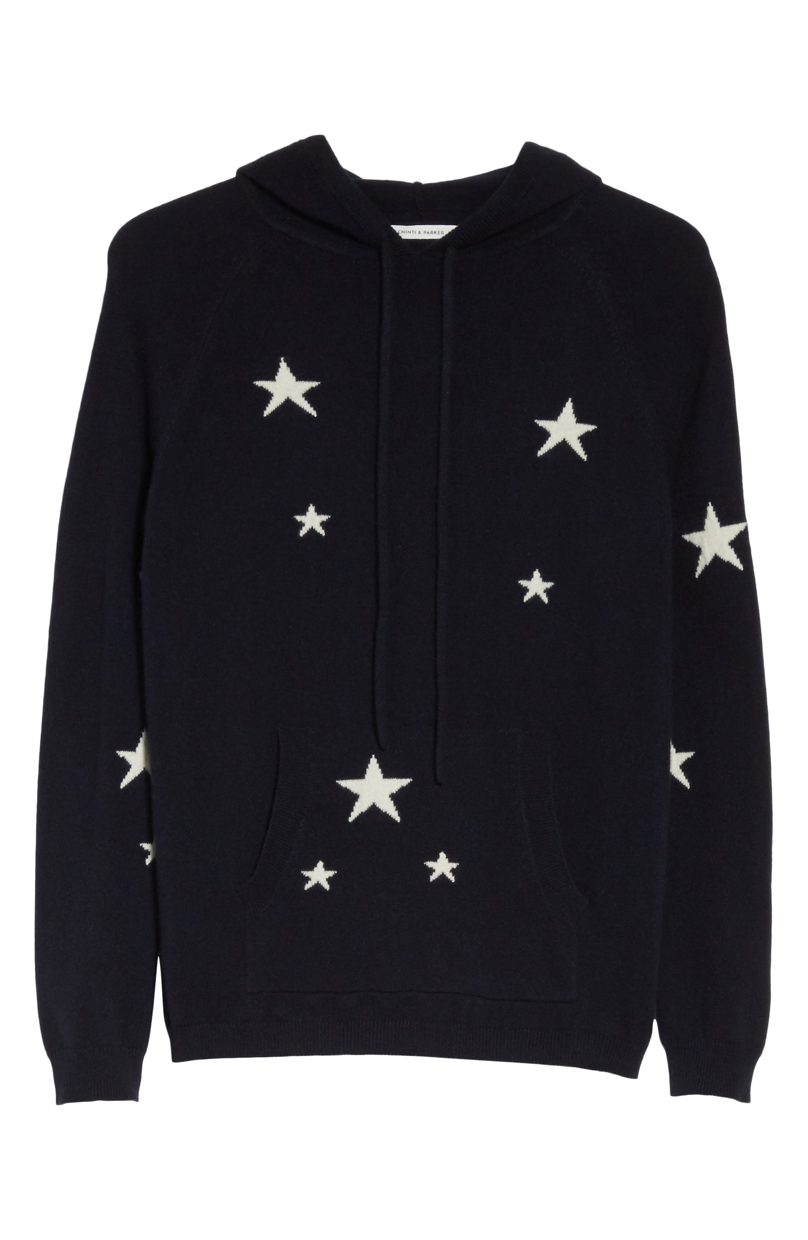 CHINTI & PARKER Star Cashmere Hoodie,                             Alternate thumbnail 6, color,                             Navy/ Cream