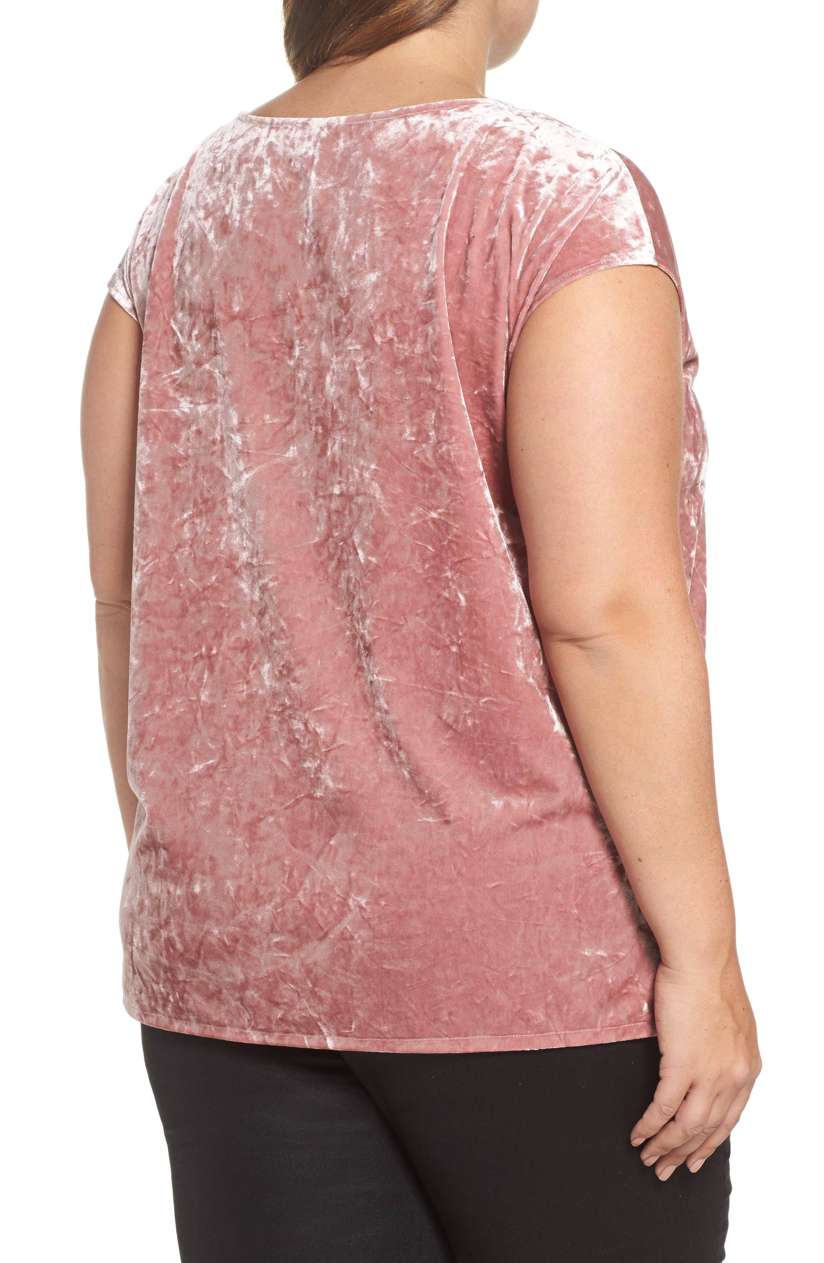 Alternate Image 2  - Vince Camuto Crushed Velvet Knit Tee (Plus Size)