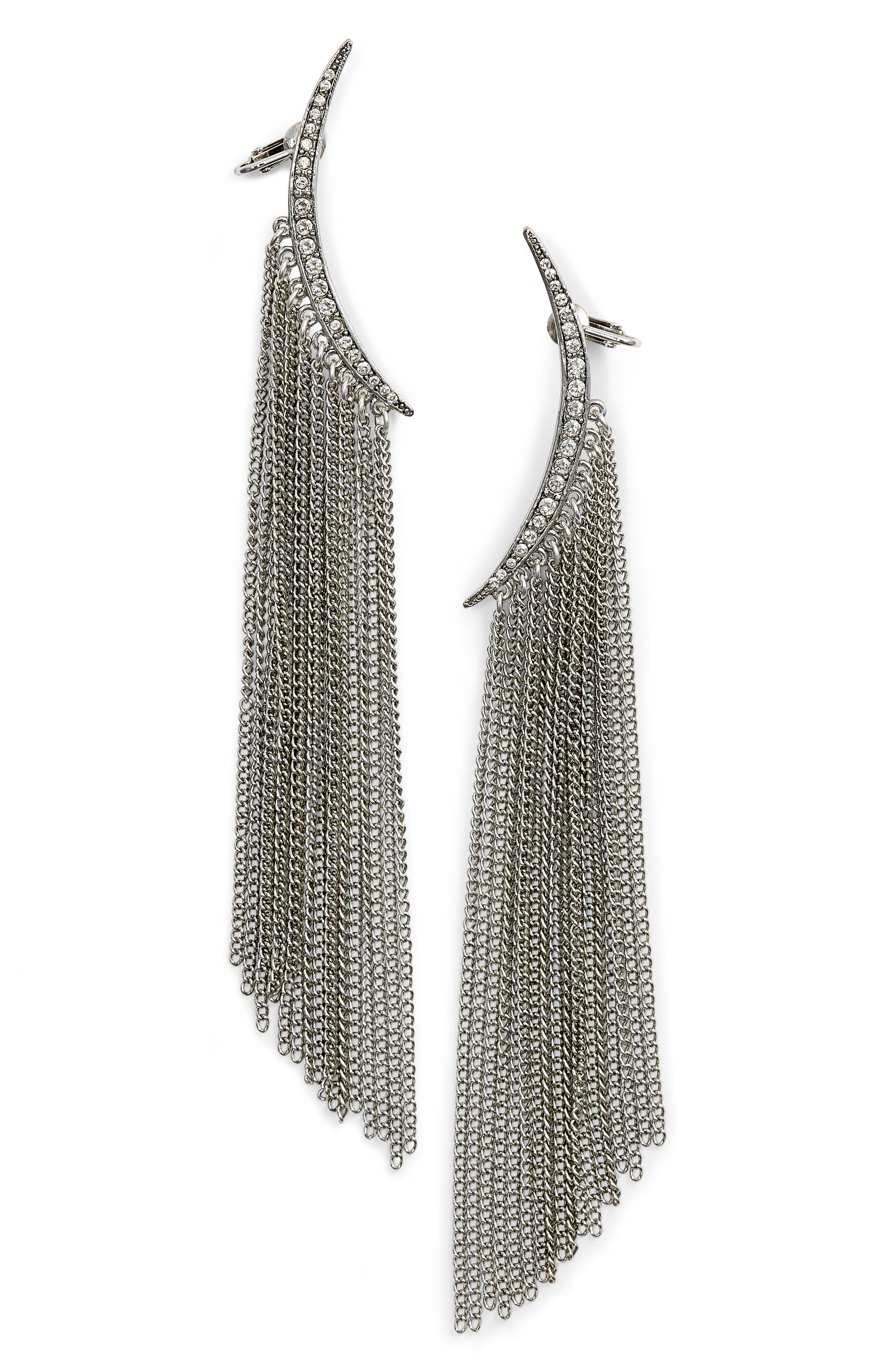 Oscar de la Renta Tendril Drop Clip-On Earrings