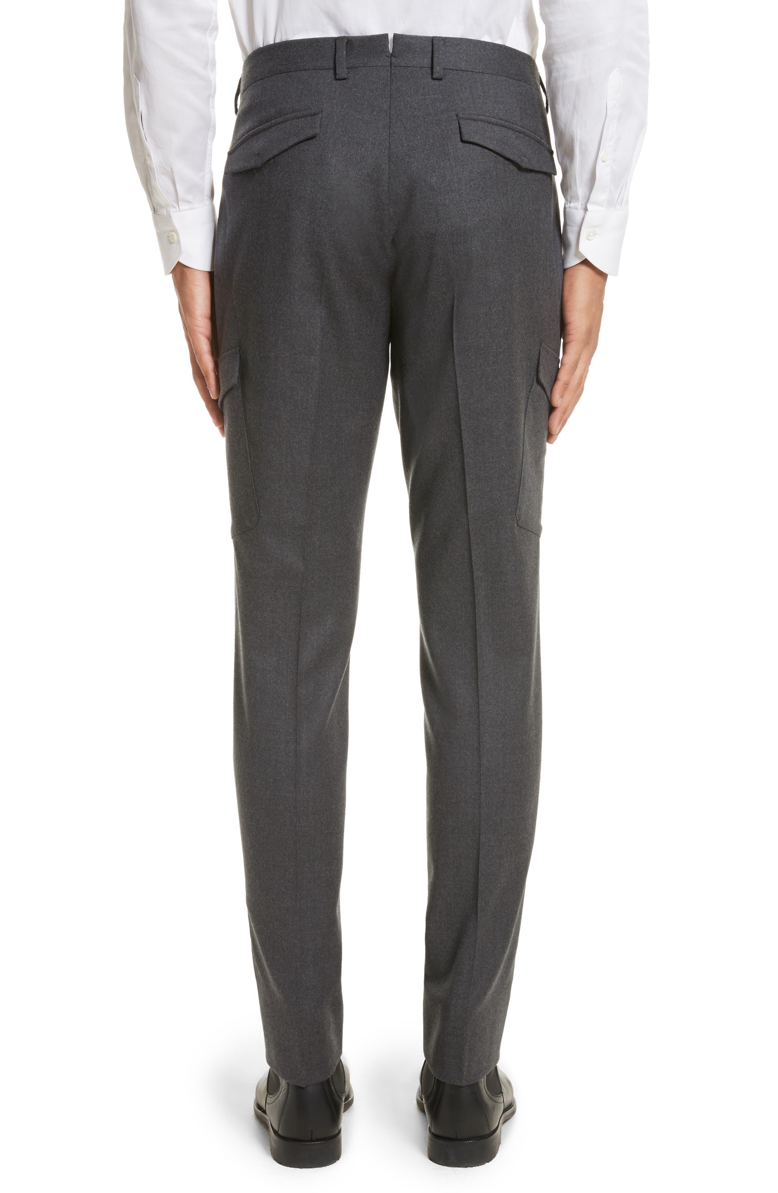 Regular Fit Wool Cargo Trousers,                             Alternate thumbnail 2, color,                             Dark Grey Solid