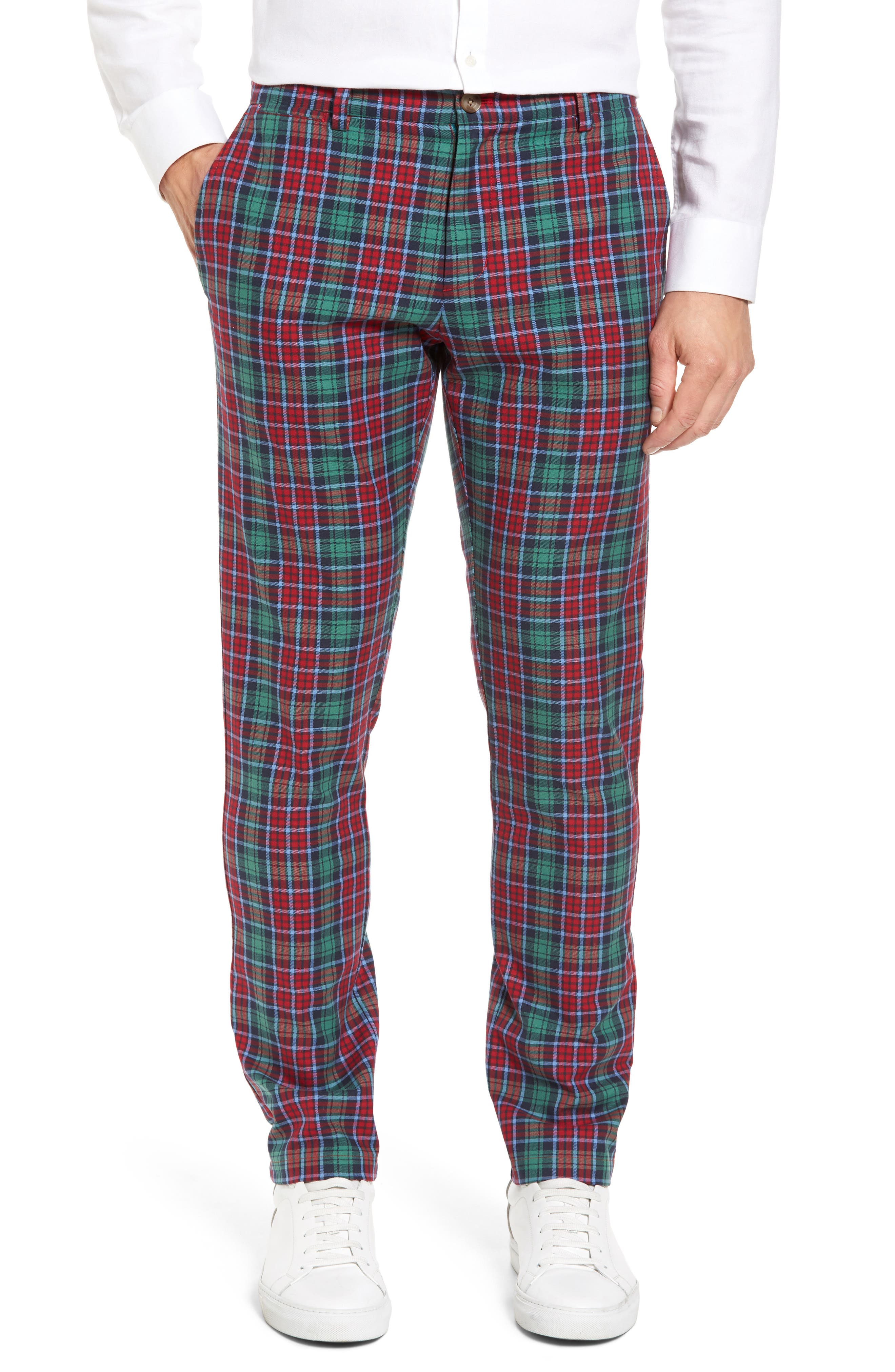 Leddy Park Slim Plaid Pants,                         Main,                         color, Charleston Green