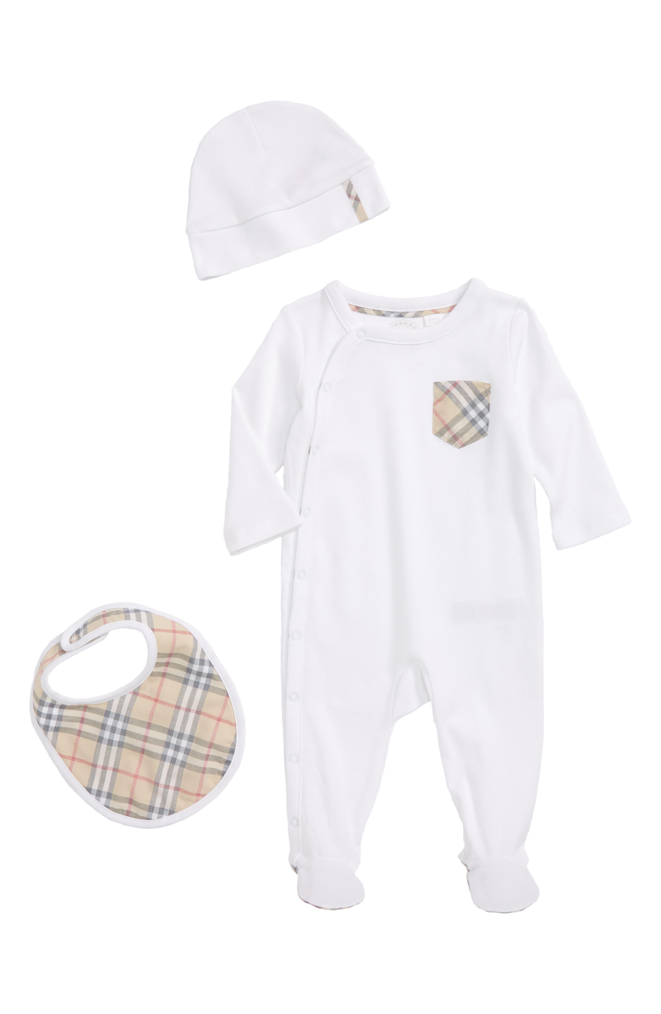 Alternate Image 1 Selected - Burberry Jaydin Footie, Bib & Hat Set (Baby Boys)
