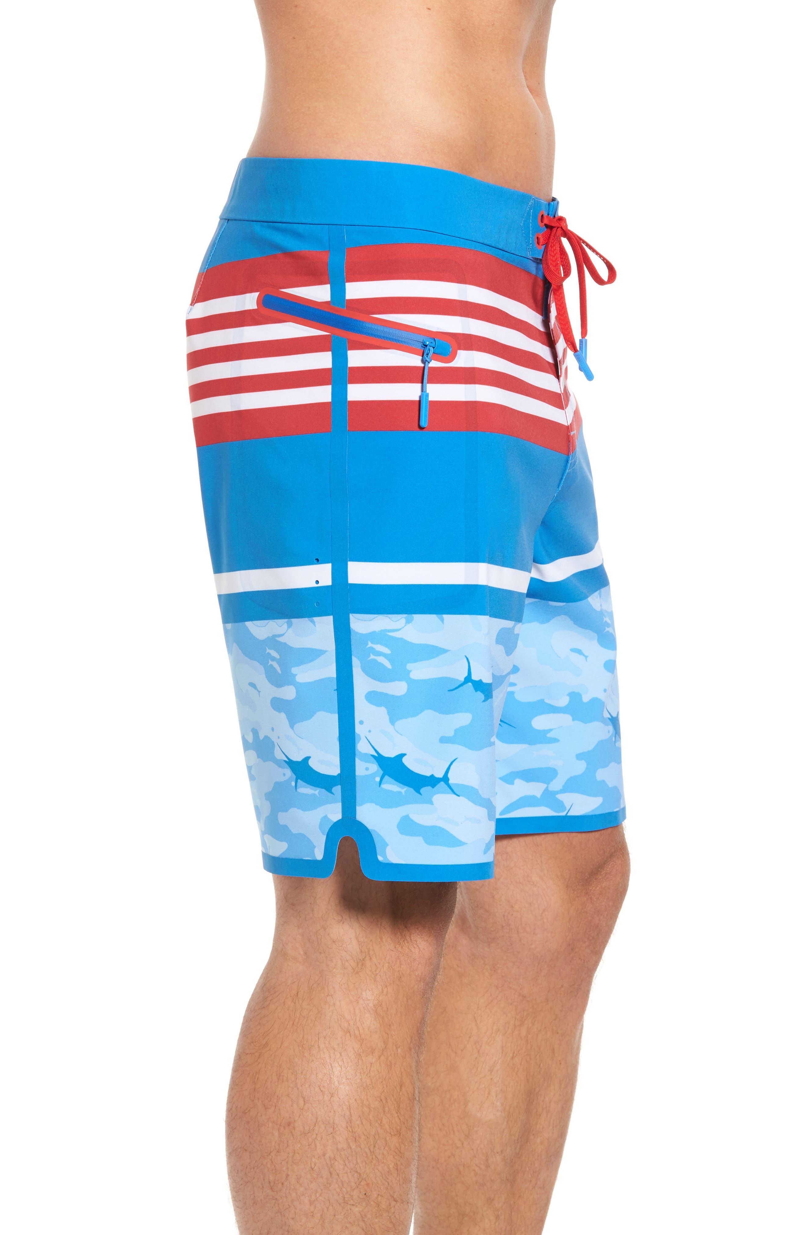 Fish Camo Stripe Board Shorts,                             Alternate thumbnail 4, color,                             Hull Blue