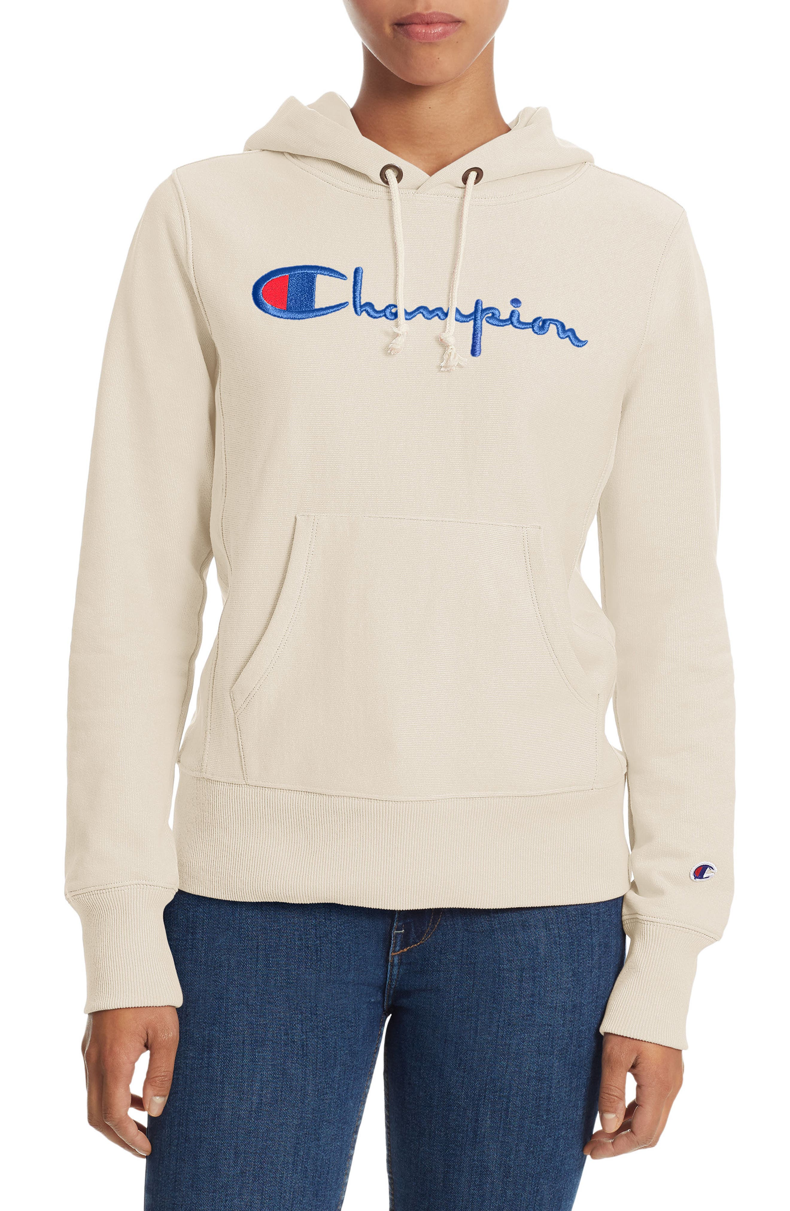 Reverse Weave<sup>®</sup> Pullover Hoodie,                         Main,                         color, Chalk White