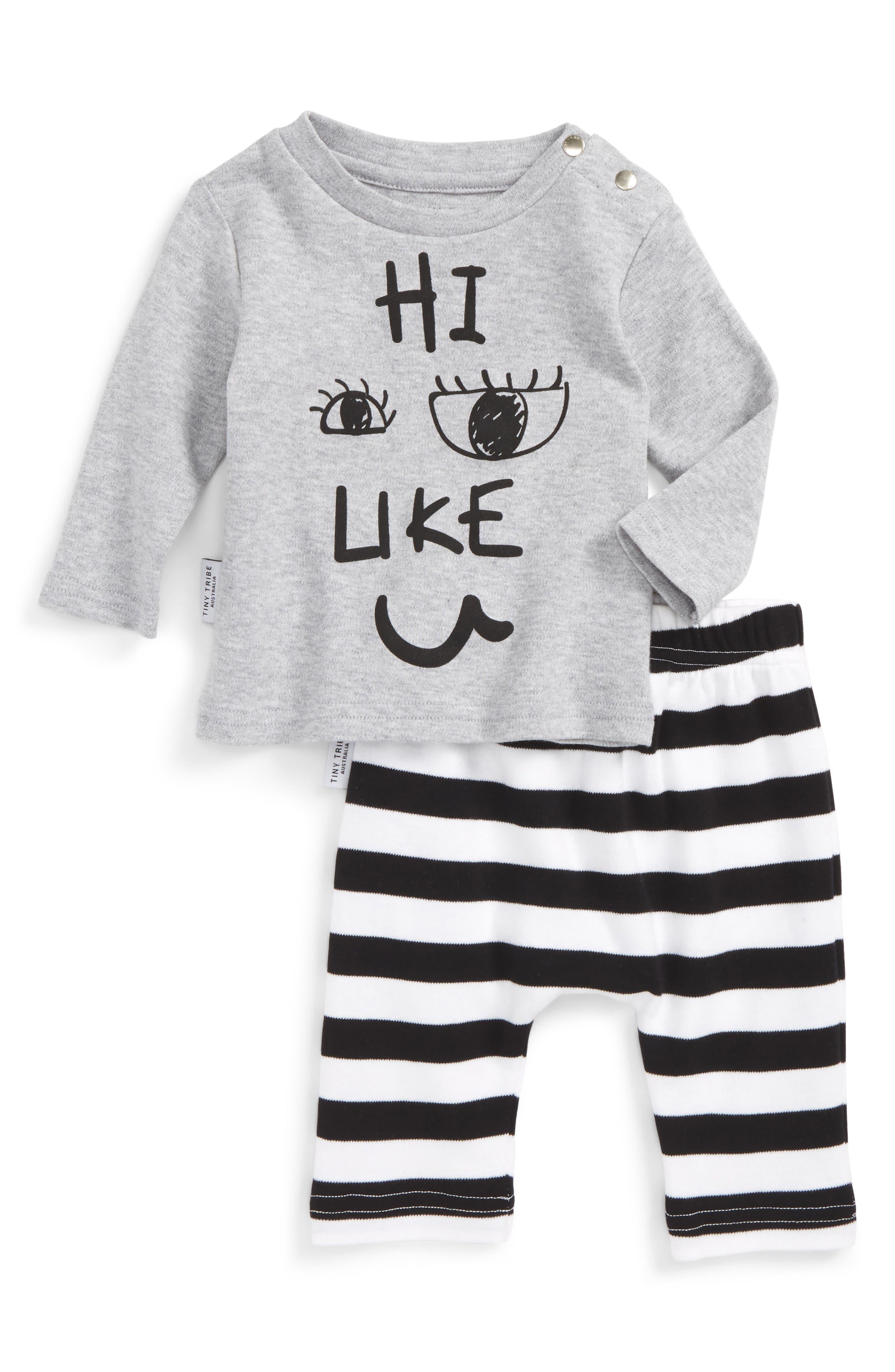 Main Image - Tiny Tribe Hi, I Like You Tee & Leggings Set (Baby & Toddler)